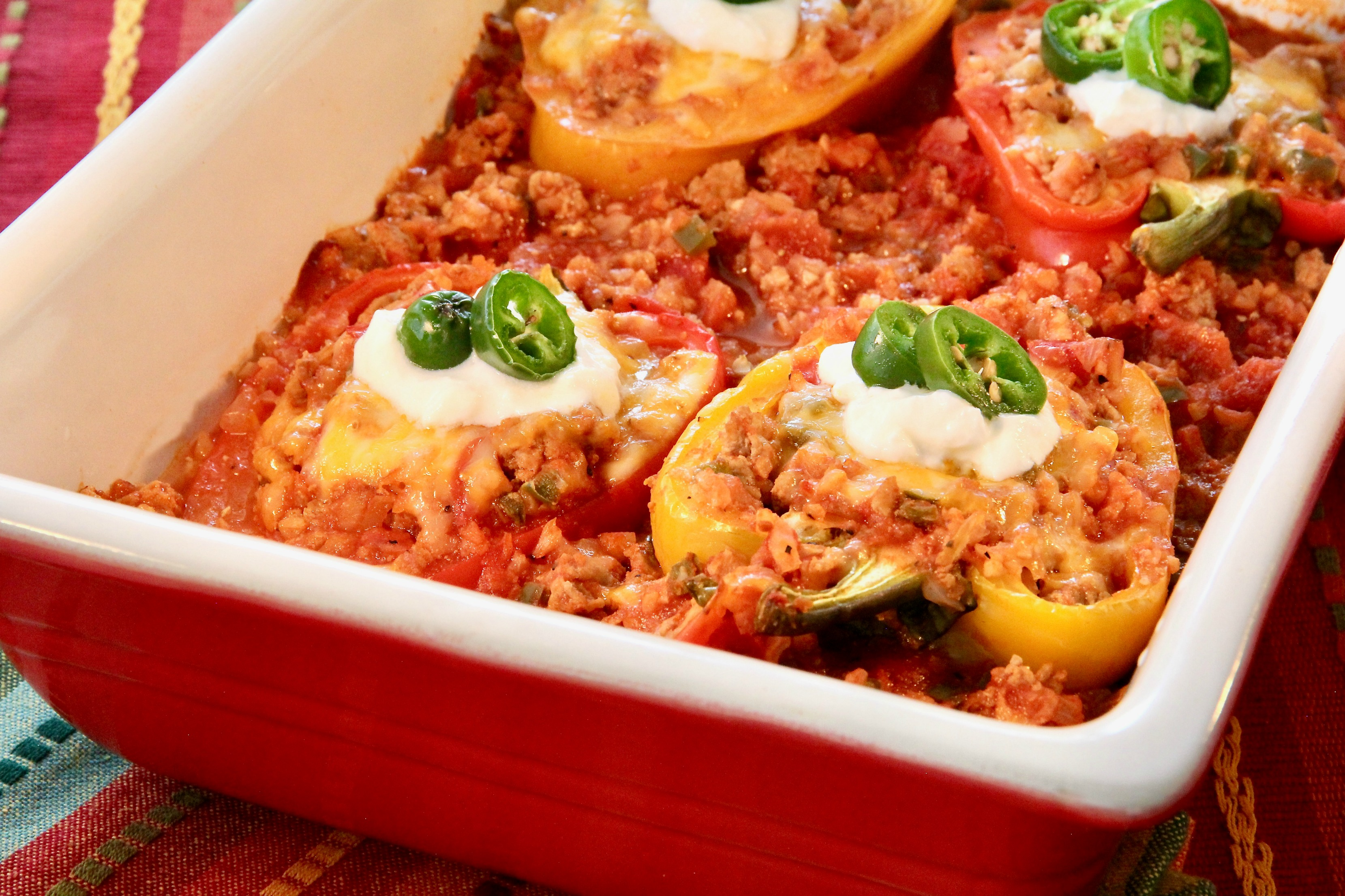Low Carb Turkey-Stuffed Peppers