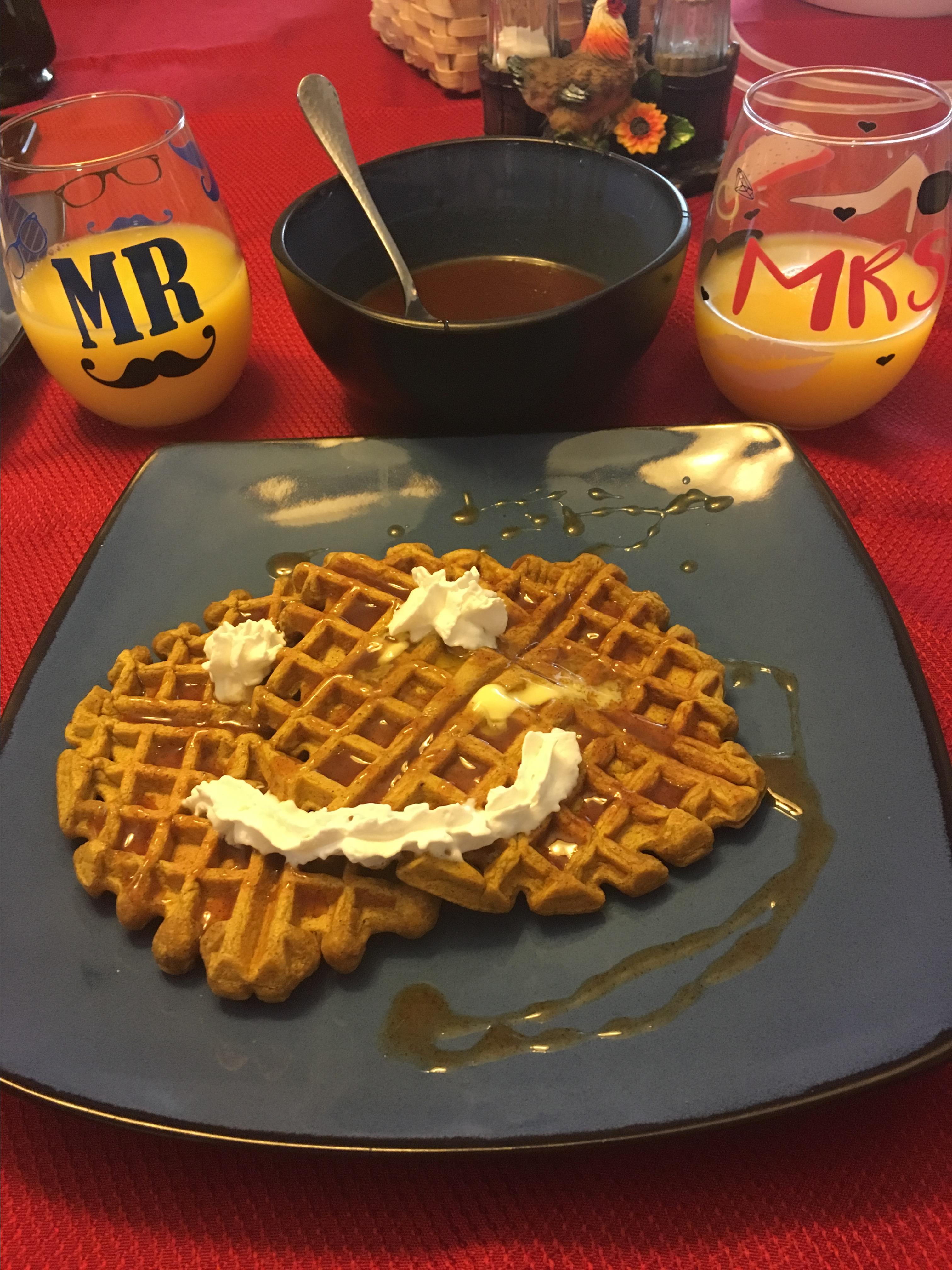 Pumpkin Waffles with Apple Cider Syrup Kristen