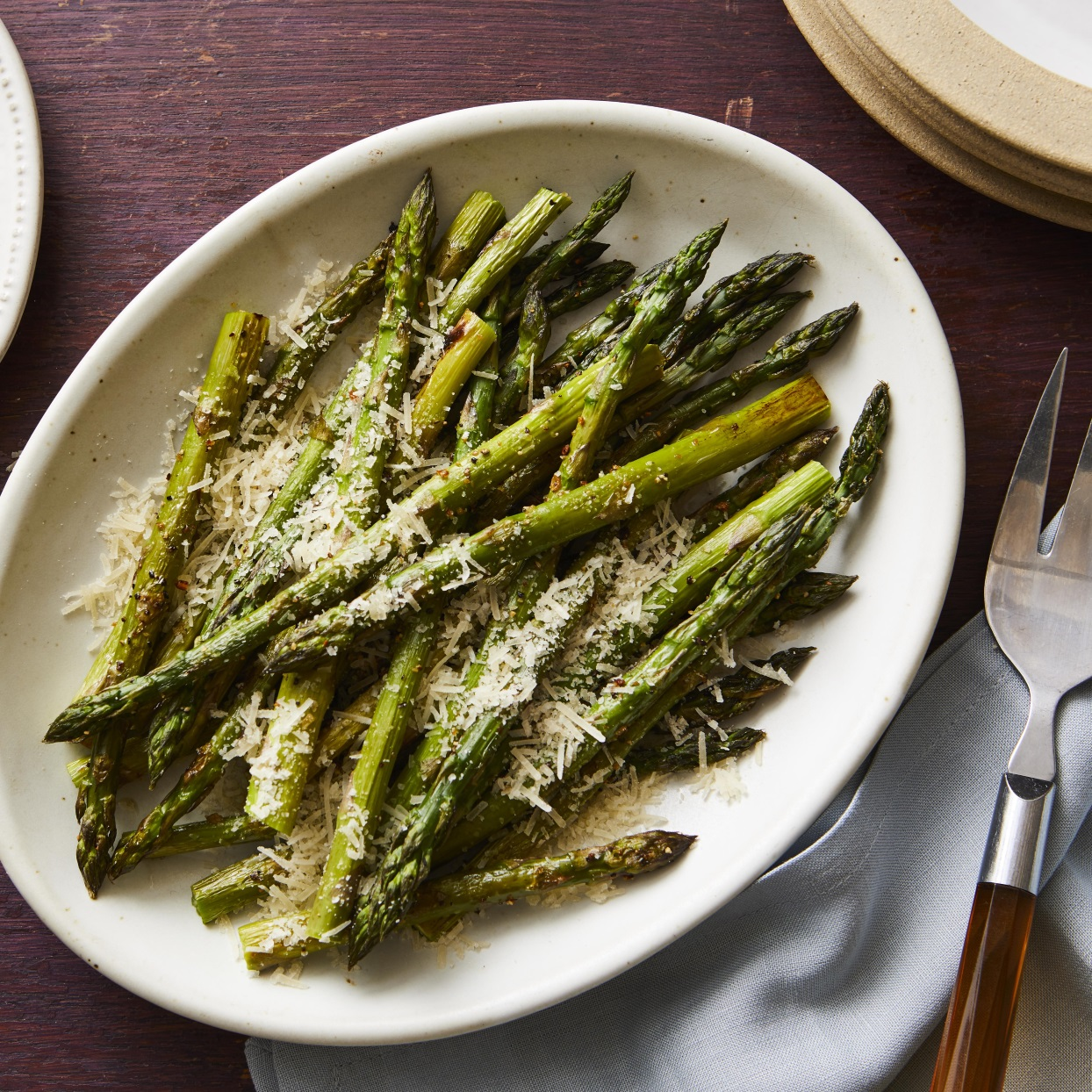 This oven-roasted asparagus Parmesan has just the right amount of cheese--and it's incredibly easy to make. Serve this healthy side dish with chicken, fish, lamb--or any other protein. Source: Diabetic Living Magazine