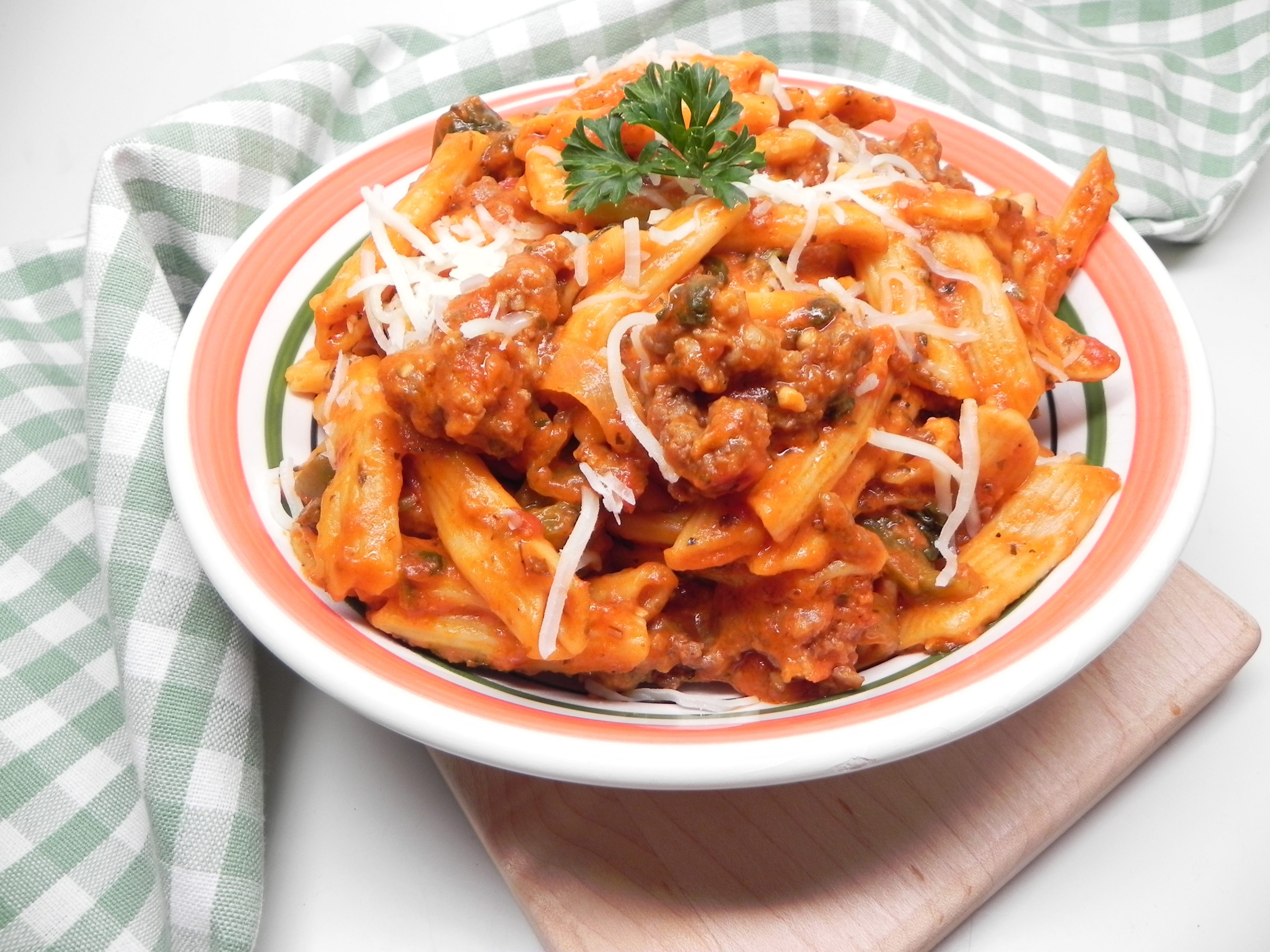 "Another super-simple pasta and sauce recipes! Here, Italian-style chicken sausage, bell peppers, tomato sauce, and penne pasta combine in the Instant Pot. ""Easy to throw it all together and let it cook,"" says Tammy Doerr.                                   More Recipes & Inspiration:"