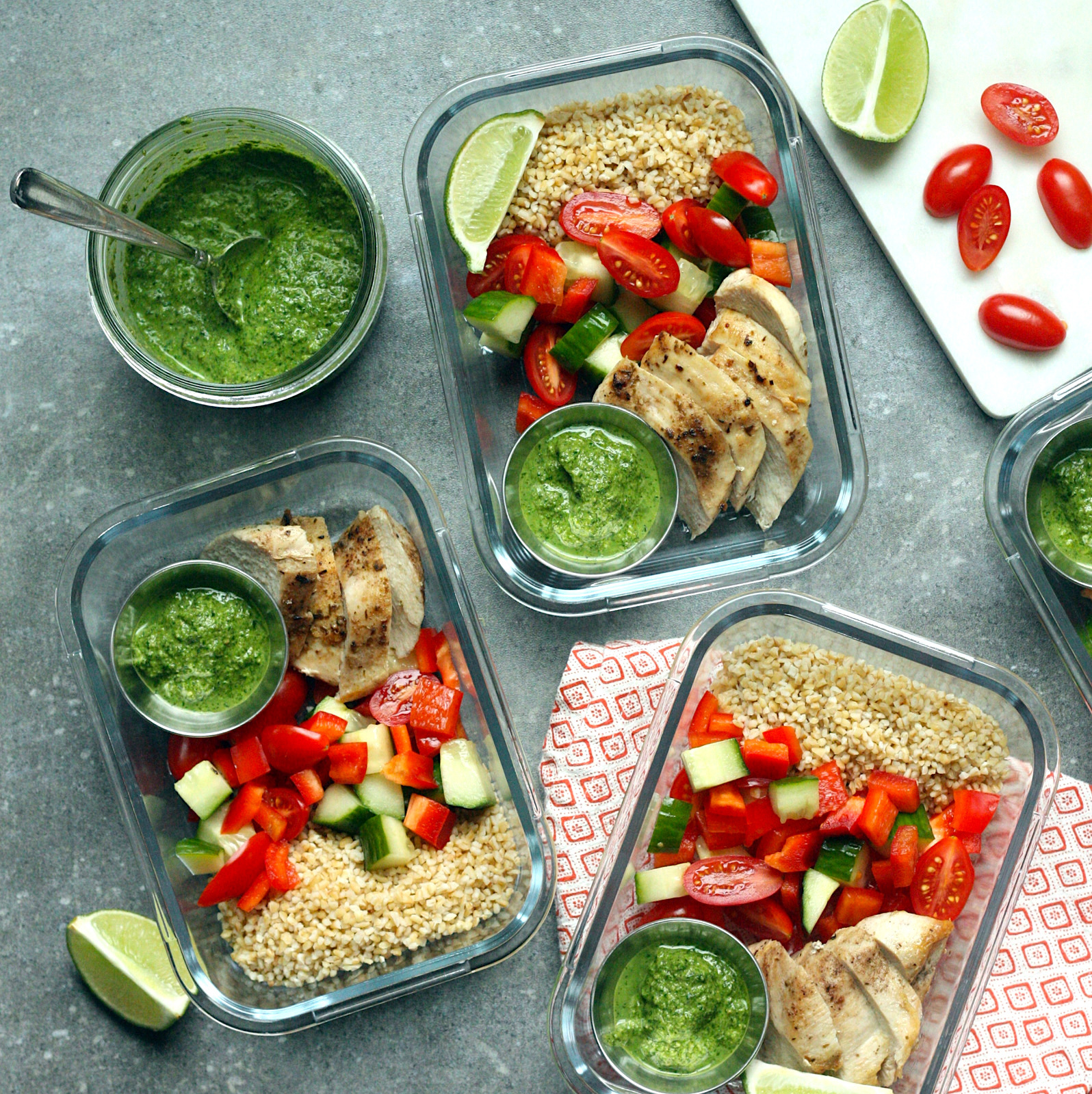 Look forward to a week of healthy, flavorful lunches with these high-protein meal-prep grain bowls. We're using bulgur wheat, which cooks up quickly and is higher in fiber than rice, but feel free to swap in any whole grain you prefer. The bowls are topped with broiled chicken (from our popular Indian-Spiced Chicken Pitas recipe) and cilantro chutney (see Associated Recipes). To balance the heat of the chutney, dress these bowls with a squeeze of fresh lime juice just before serving. Source: EatingWell.com, October 2019