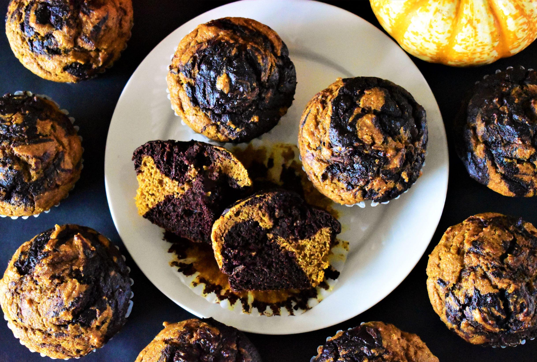 Marbled Chocolate-Pumpkin Muffins