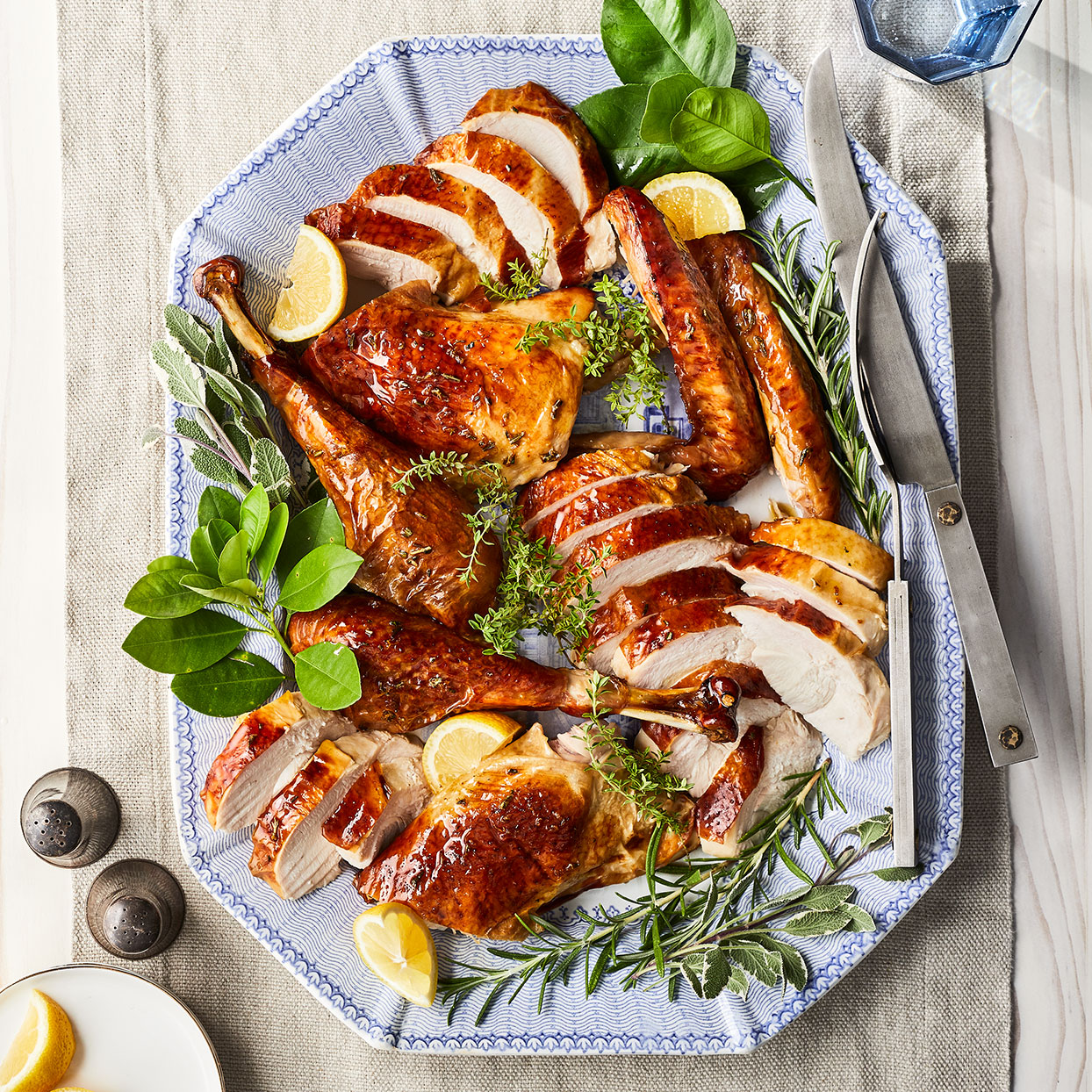 A rub made of herbs, lemon zest, and garlic infuses every bite of this juicy bird. It's accompanied by a rich homemade gravy made from pan drippings and a touch of cream.