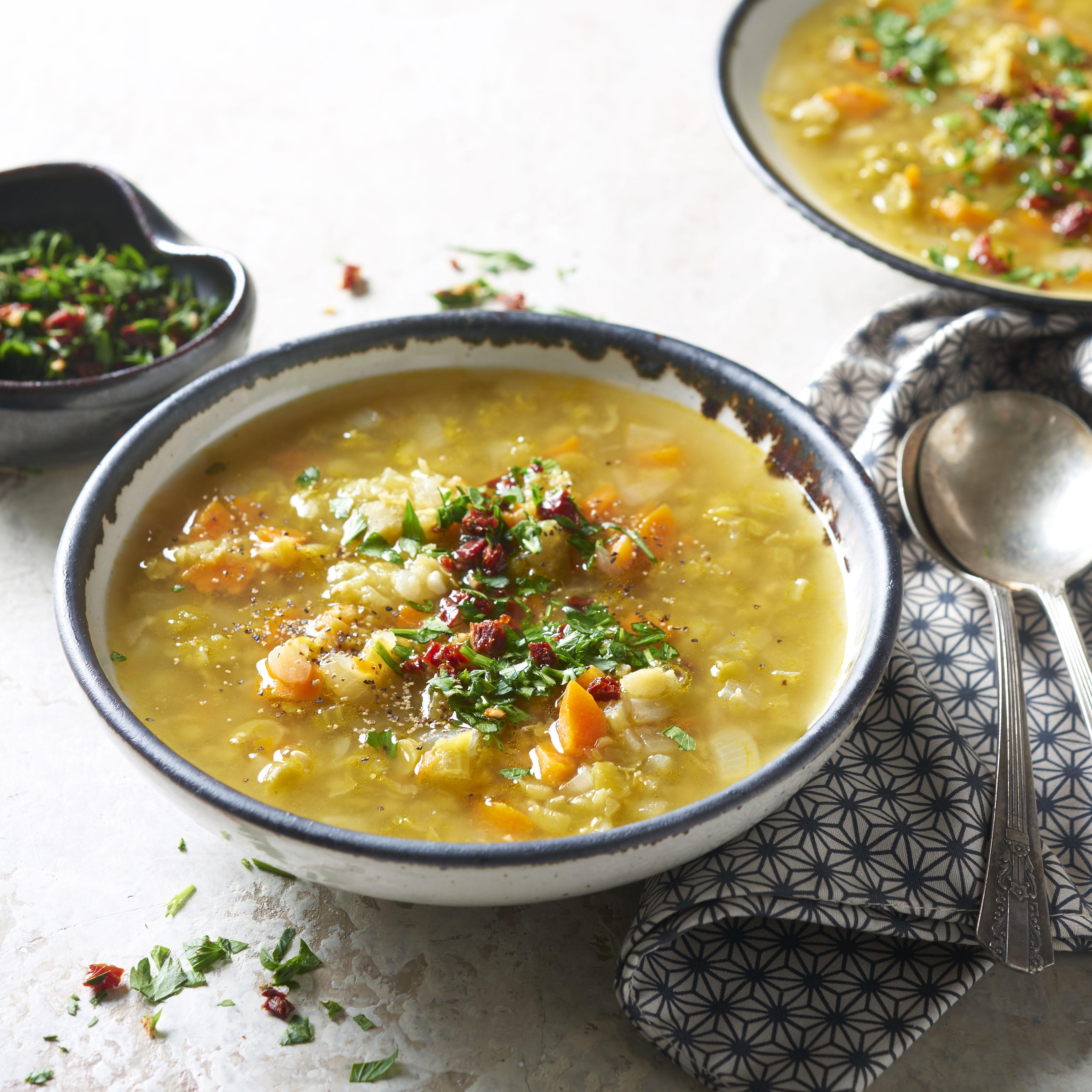 Split Pea Soup with Sun-Dried Tomato Gremolata Doug