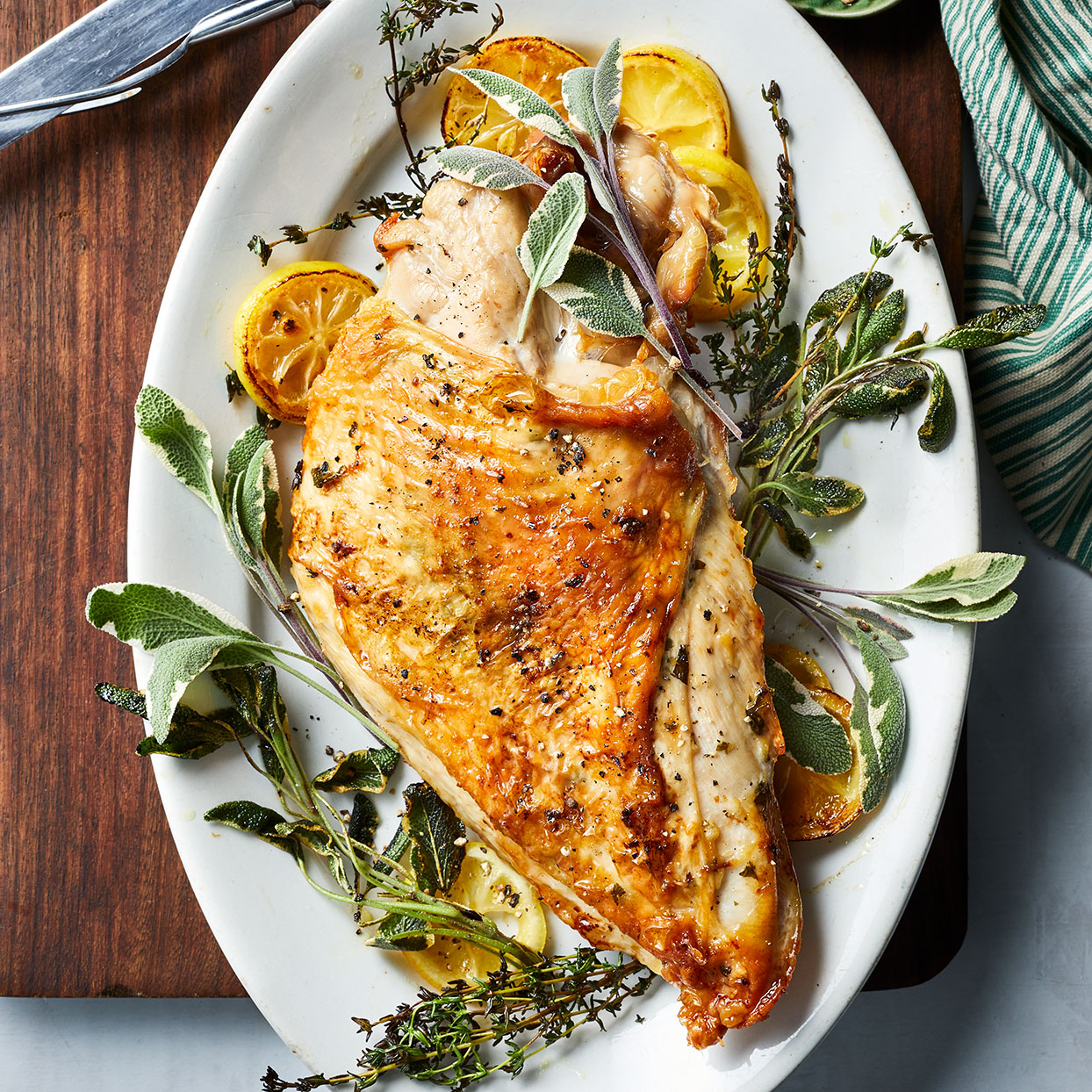 If you're scaling back your Thanksgiving dinner this year, this bone-in, skin-on turkey breasts, also called split breasts, are inexpensive and nice for (just enough) leftovers. Roasted garlic, salt and pepper and a few fresh herbs make the breast meat flavorful. This recipe also takes less time than a whole turkey—you start checking for doneness after 30 minutes in the oven.