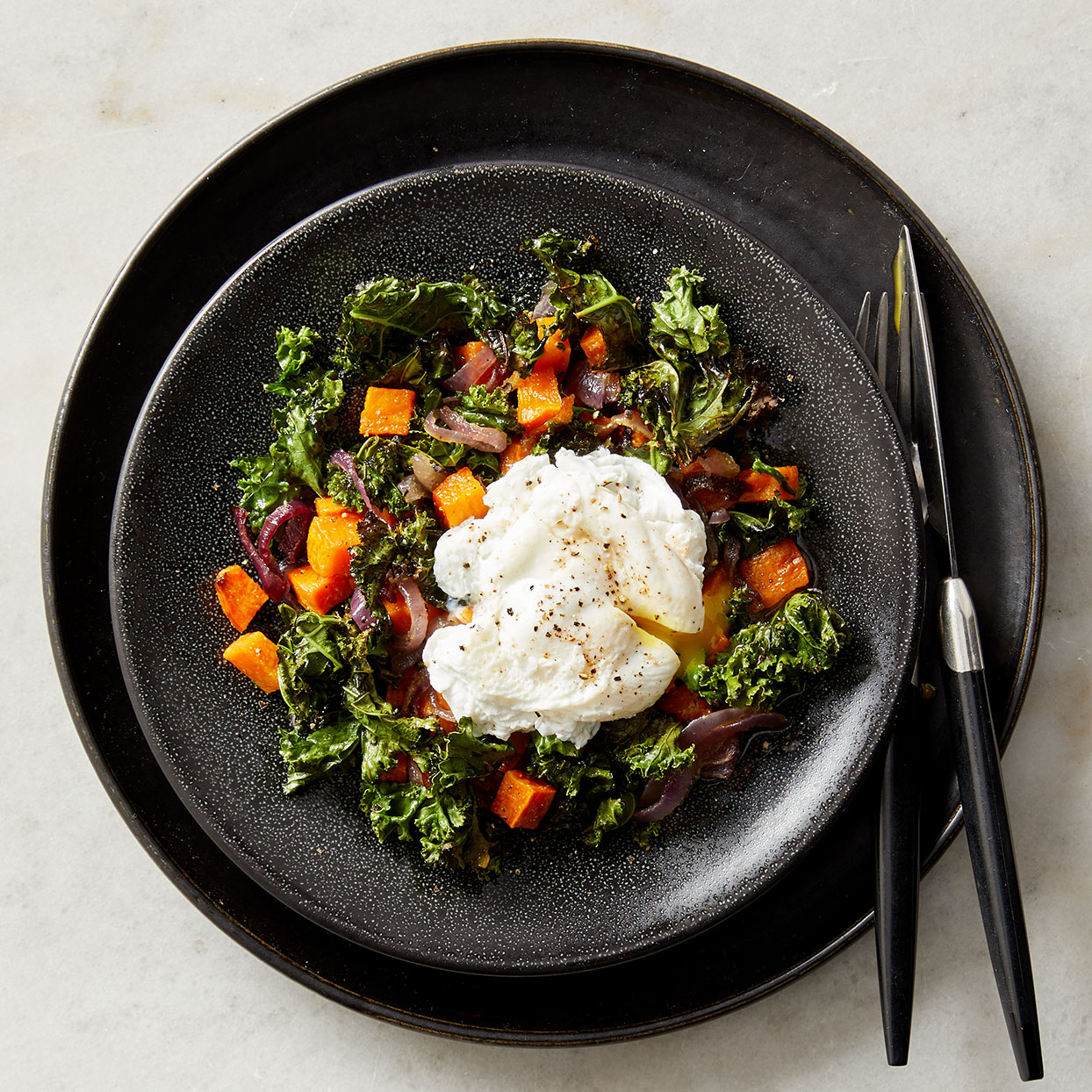 This one-pan hash makes an easy fall dinner or a simple dish for a healthy brunch. You can even poach the eggs ahead of time--slip them into steaming-hot water to rewarm them just before serving. Source: Diabetic Living Magazine, Winter 2020