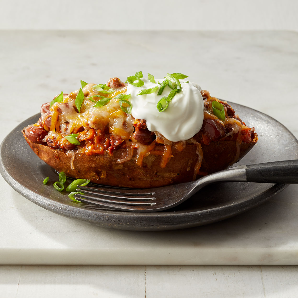 Sweet potatoes pair wonderfully with this simple chili recipe. Add one more chipotle pepper if you want to spice up this healthy sweet potato recipe. Source: Diabetic Living Magazine, Winter 2020