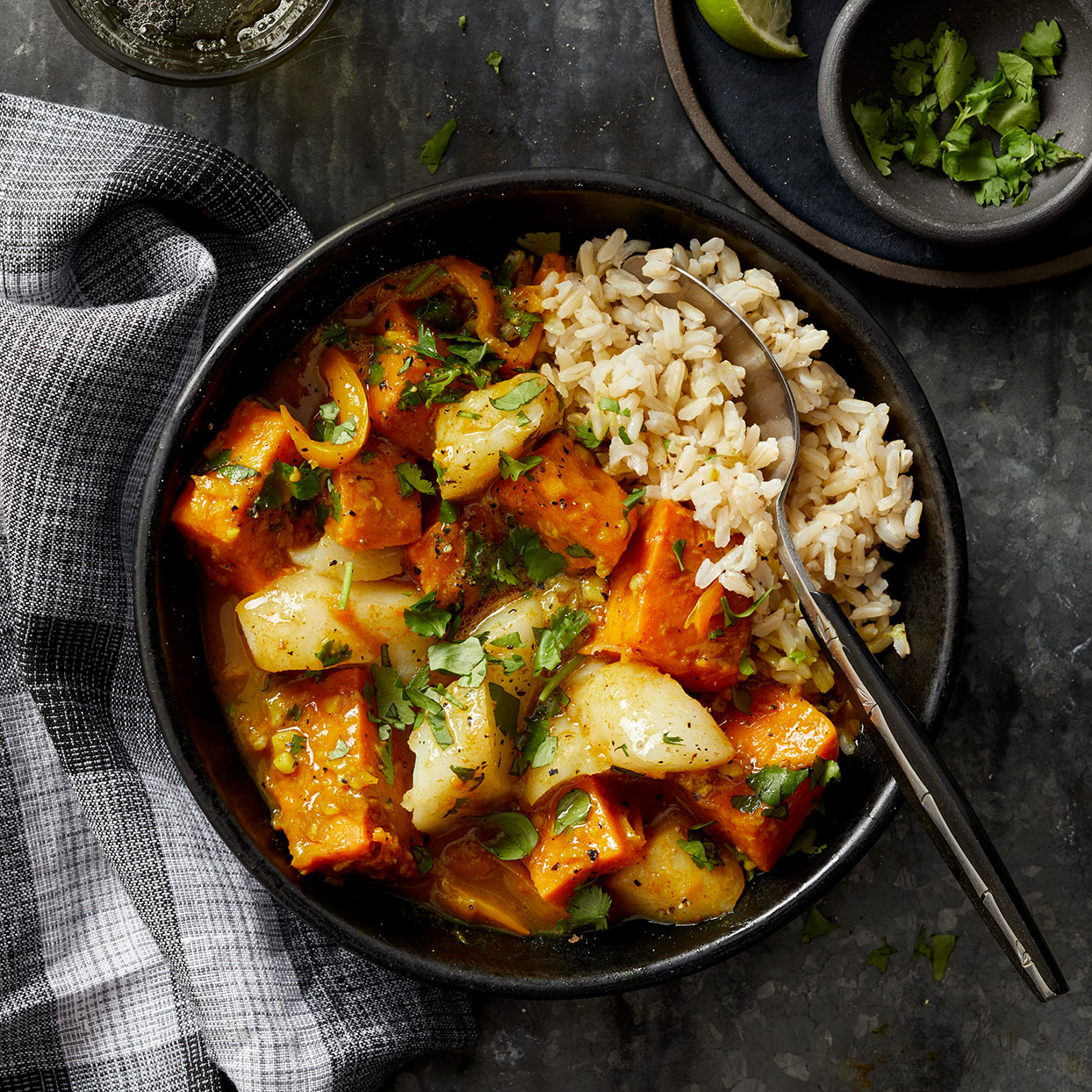 This hearty coconut curry is warm and comforting, thanks to tender sweet potatoes and a hint of spice. This easy curry recipe can be on the table in less than an hour. Source: Diabetic Living Magazine, Winter 2020
