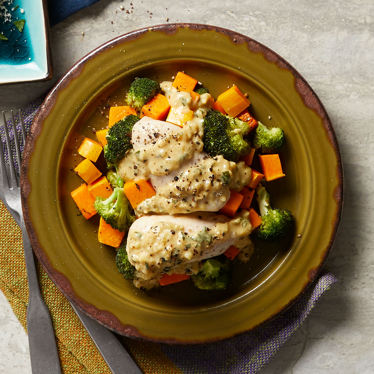 Precubed butternut squash is a timesaver in this easy baked chicken recipe. Look for it in the produce section. Source: Diabetic Living Magazine, Winter 2020