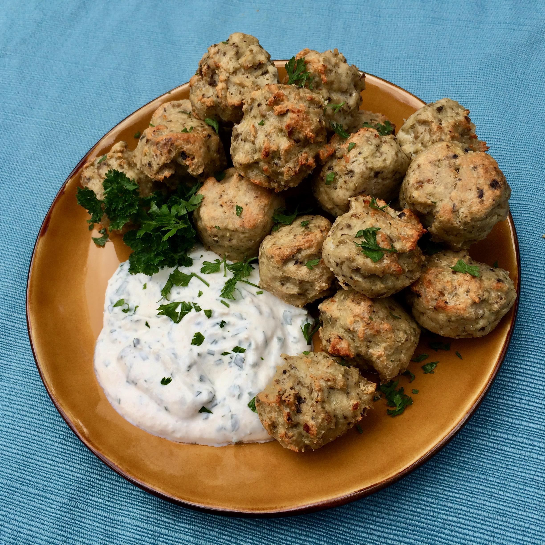 Keto Turkey Meatballs with Sour Cream-Horseradish Dip Bibi