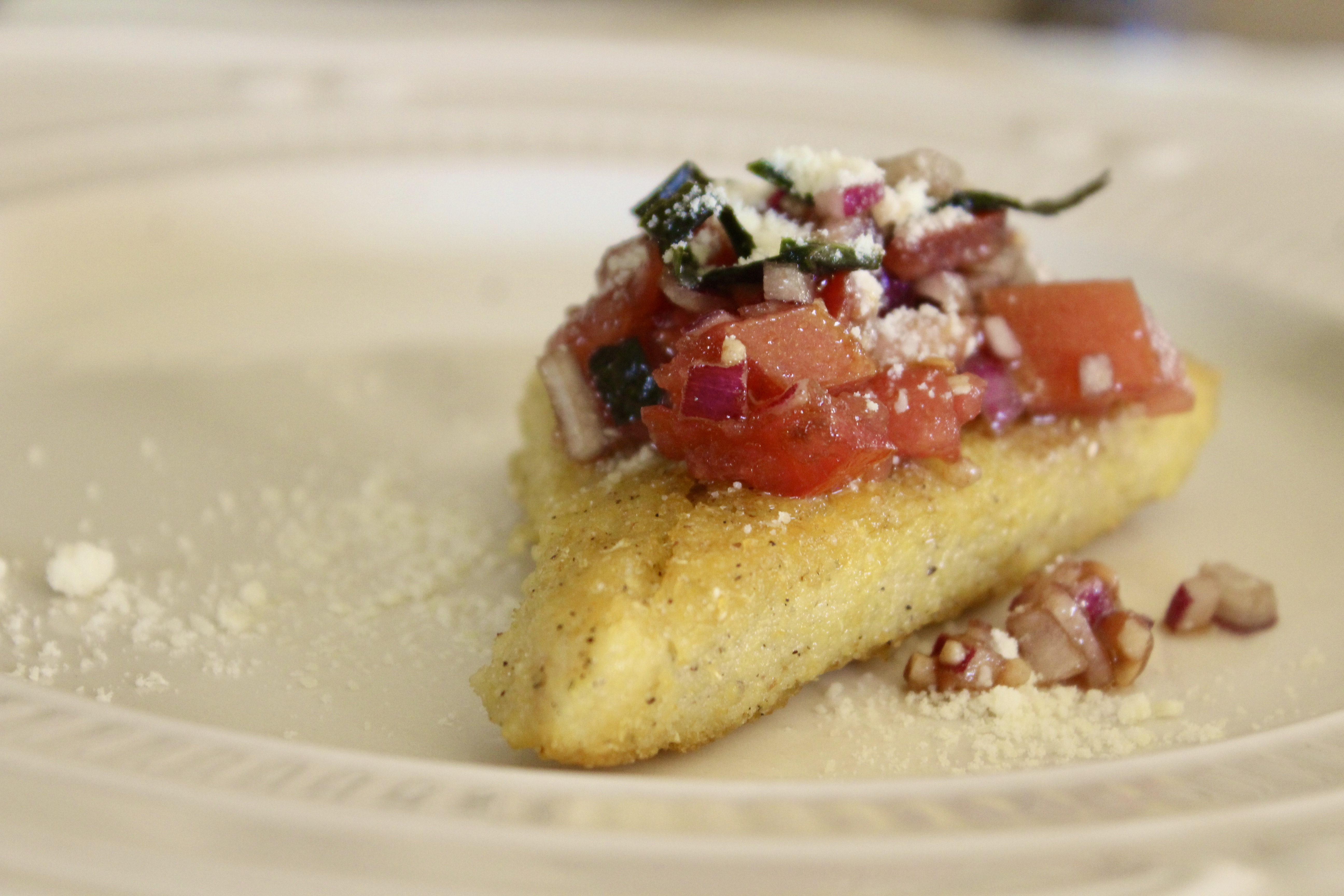 Pan-Fried Polenta with Bruschetta Topping