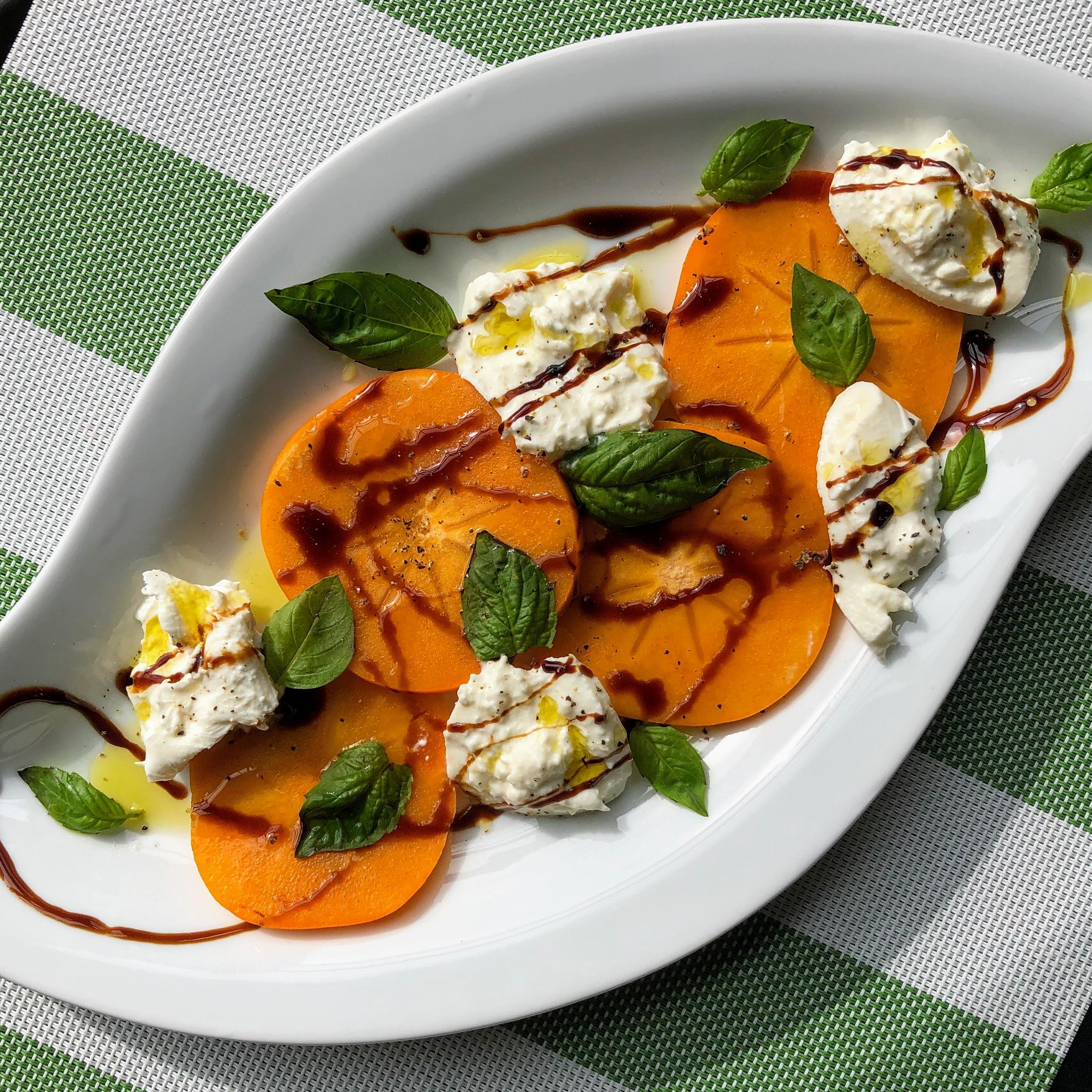 Fuyu Persimmon and Burrata Caprese Salad