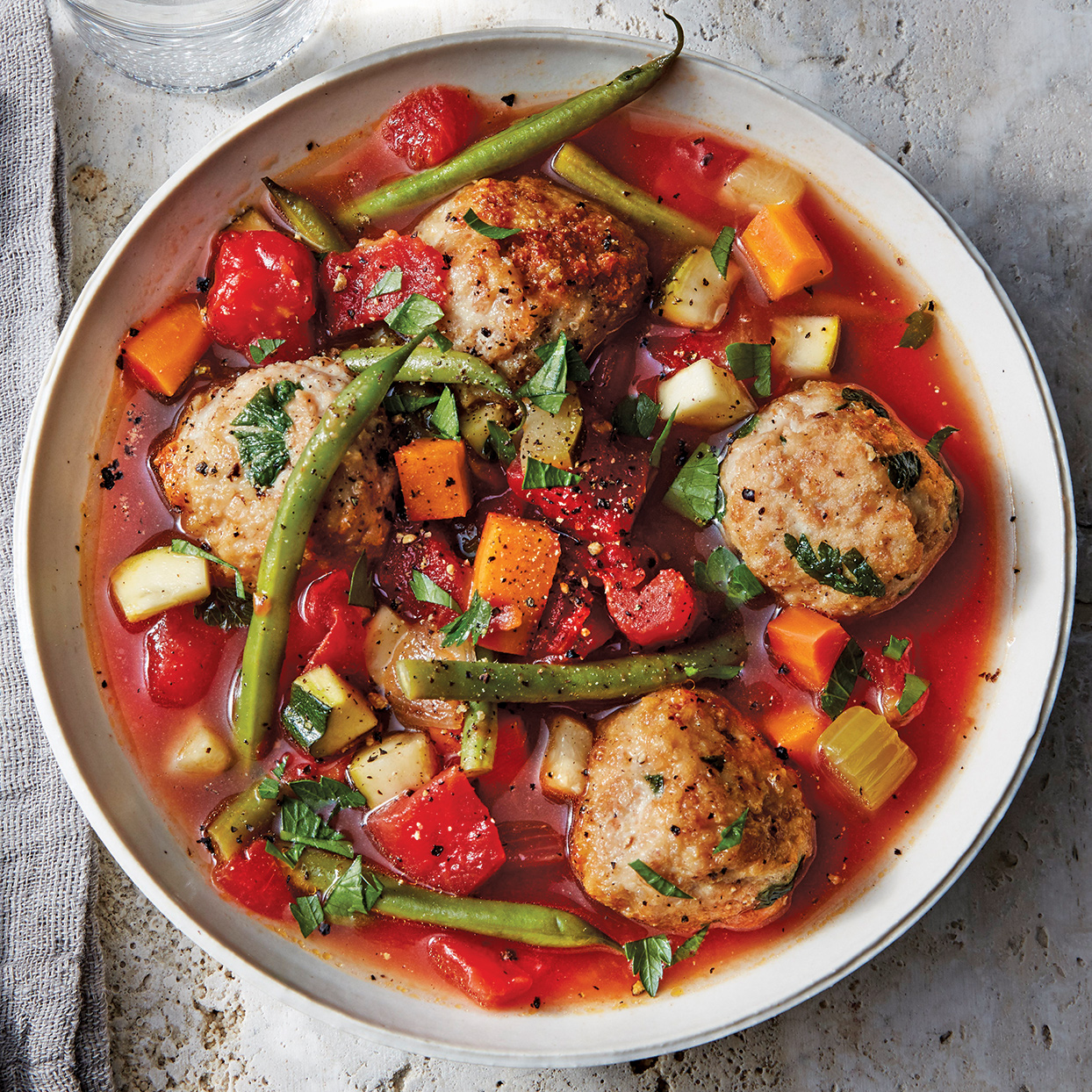 Slow-Cooker Vegetable & Chicken Meatball Soup