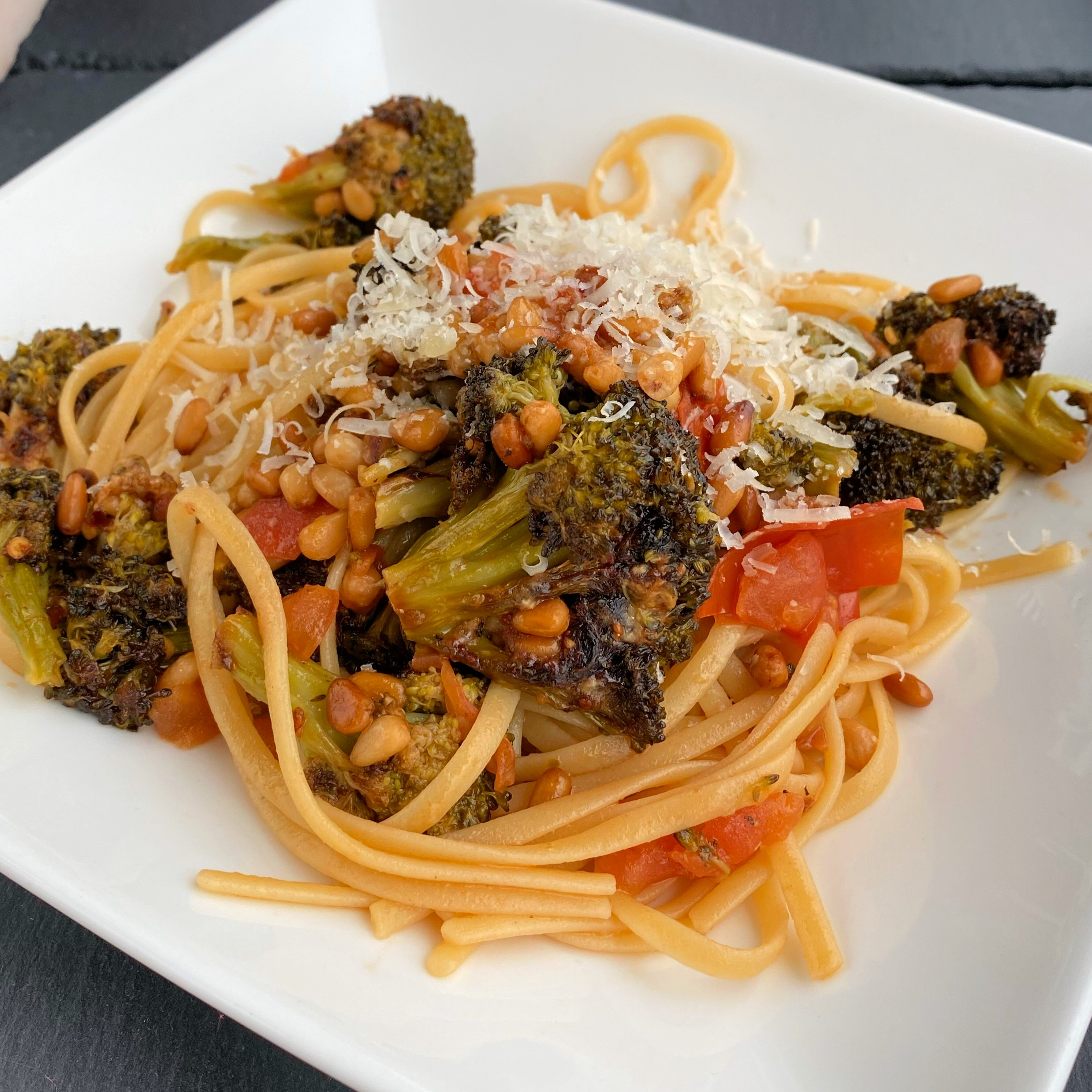 Linguini with Roasted Broccoli Pesto