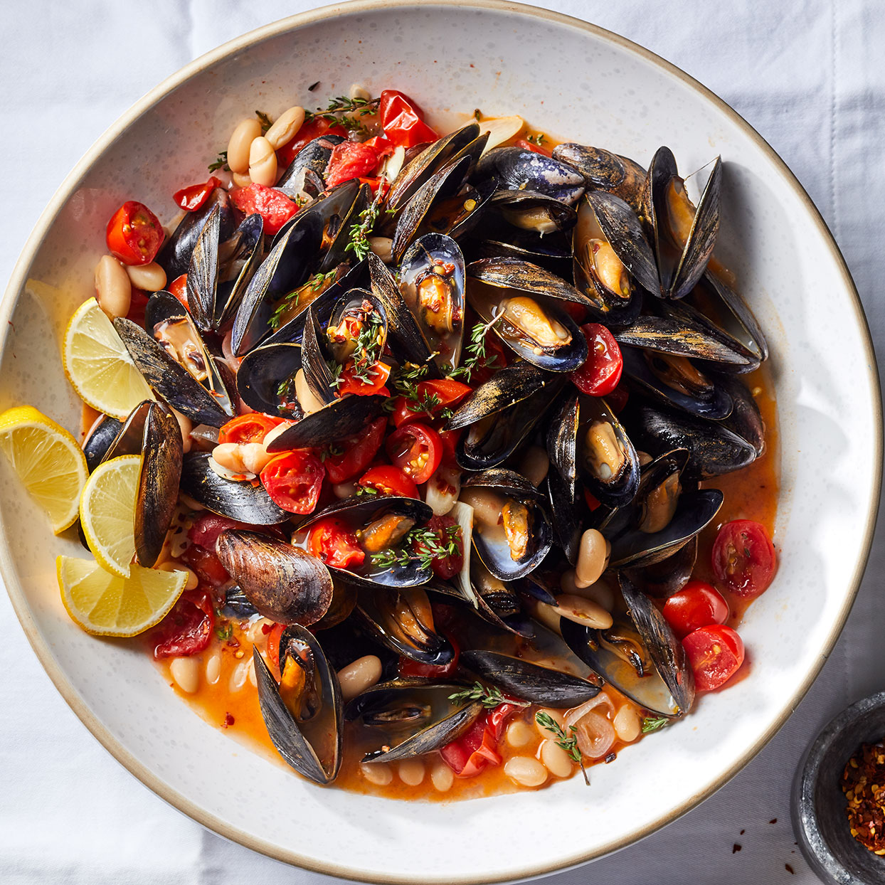 Mussels with White Beans & Tomatoes Adam Dolge