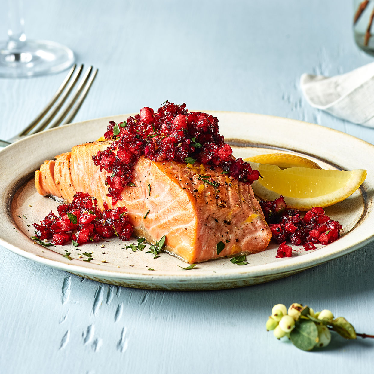 This ruby-red cranberry relish recipe gets refreshing crunch from apple and celery. It's also delightful alongside a roast chicken or pork loin. Source: EatingWell Magazine, December 2019