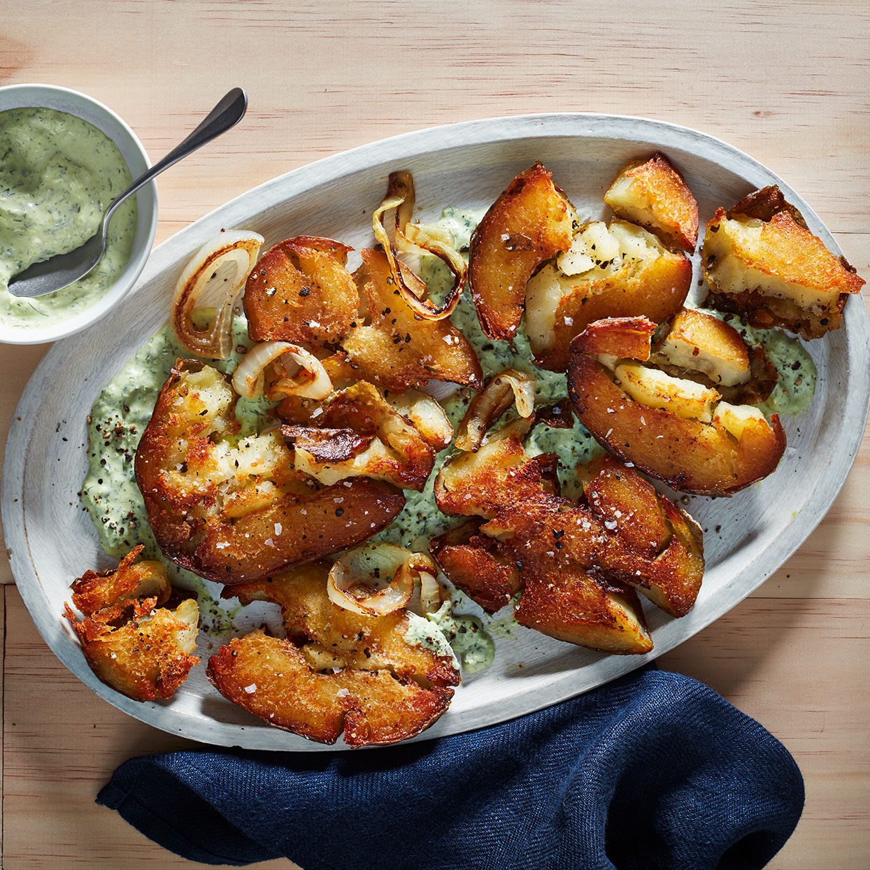 Crispy Smashed Potatoes with Green Horseradish Sauce Amy Thielen