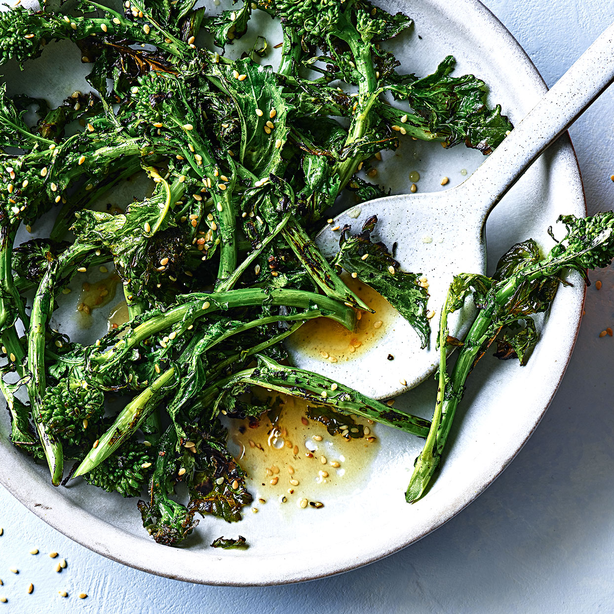 You can go without using oil if you are cooking broccoli rabe in the dry heat of a skillet. It adds a nice sear to the oranges as well. Seasoned with toasty sesame, this healthy vegetable side dish is an easy flavor upgrade. Source: EatingWell Magazine, December 2019