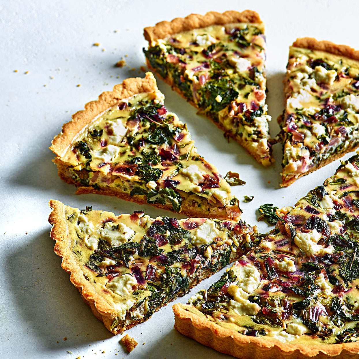 Baby Kale, Goat Cheese & Red Onion Tart Judith Fertig