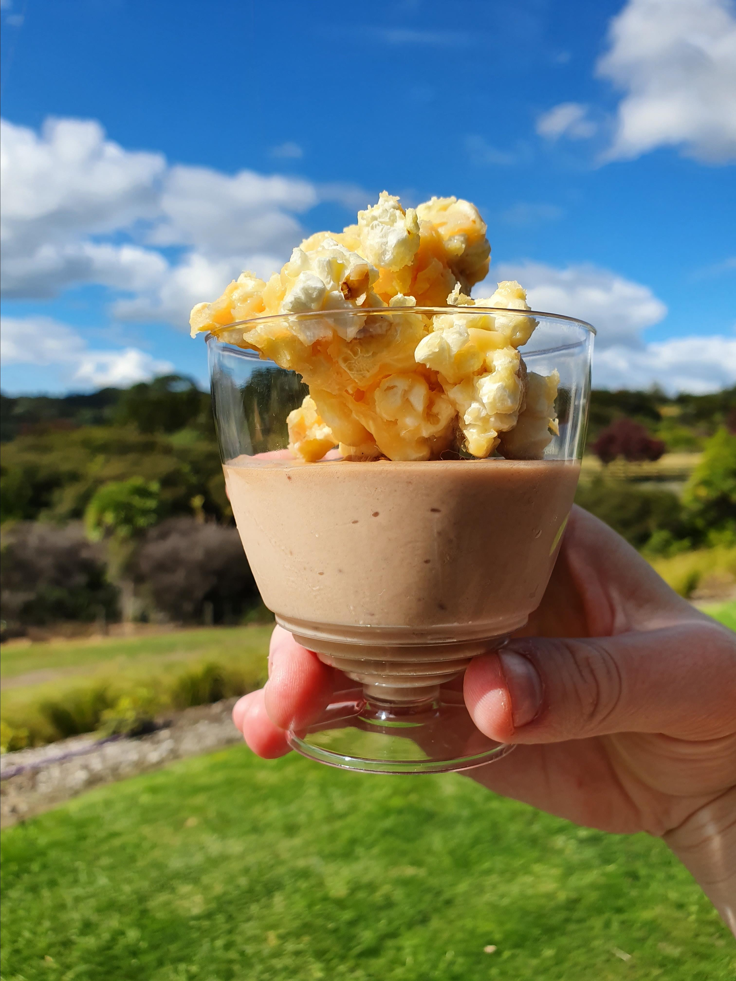 Chocolate Mousse with Salted Caramel Popcorn