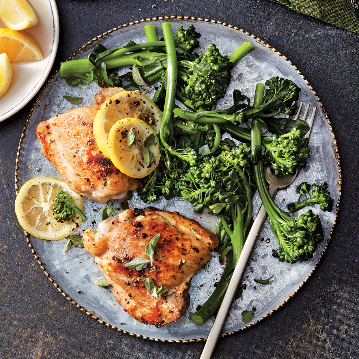 Slow-Cooker Lemon-Pepper Chicken Thighs with Broccolini