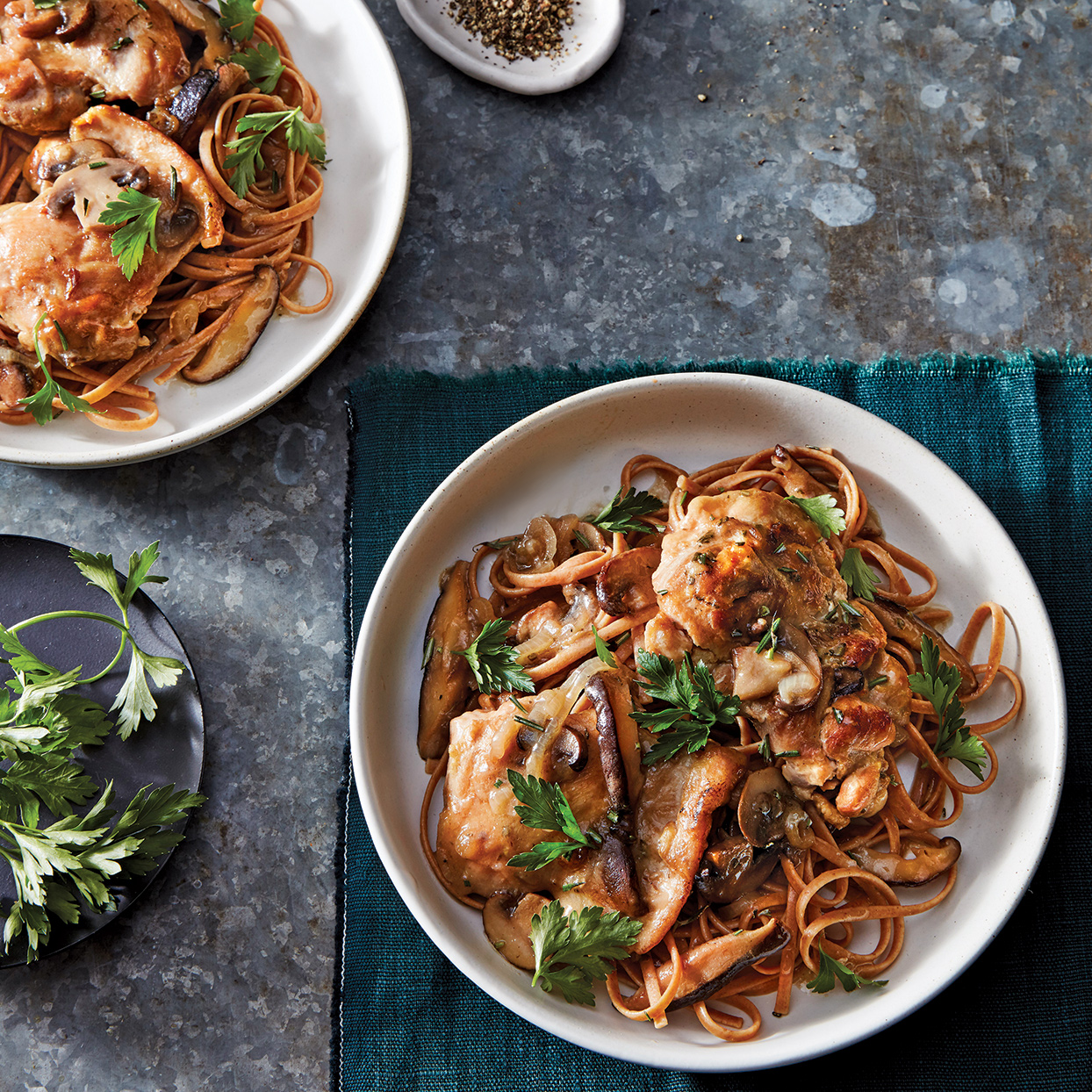 Slow-Cooker Chicken with Rosemary & Mushrooms over Linguine