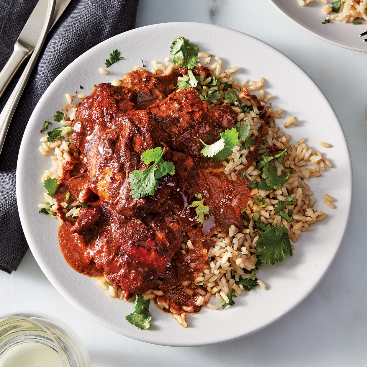 Slow-Cooker Chicken Mole with Cilantro Rice
