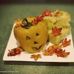 Stuffed Jack-O-Lantern Bell Peppers cookndame