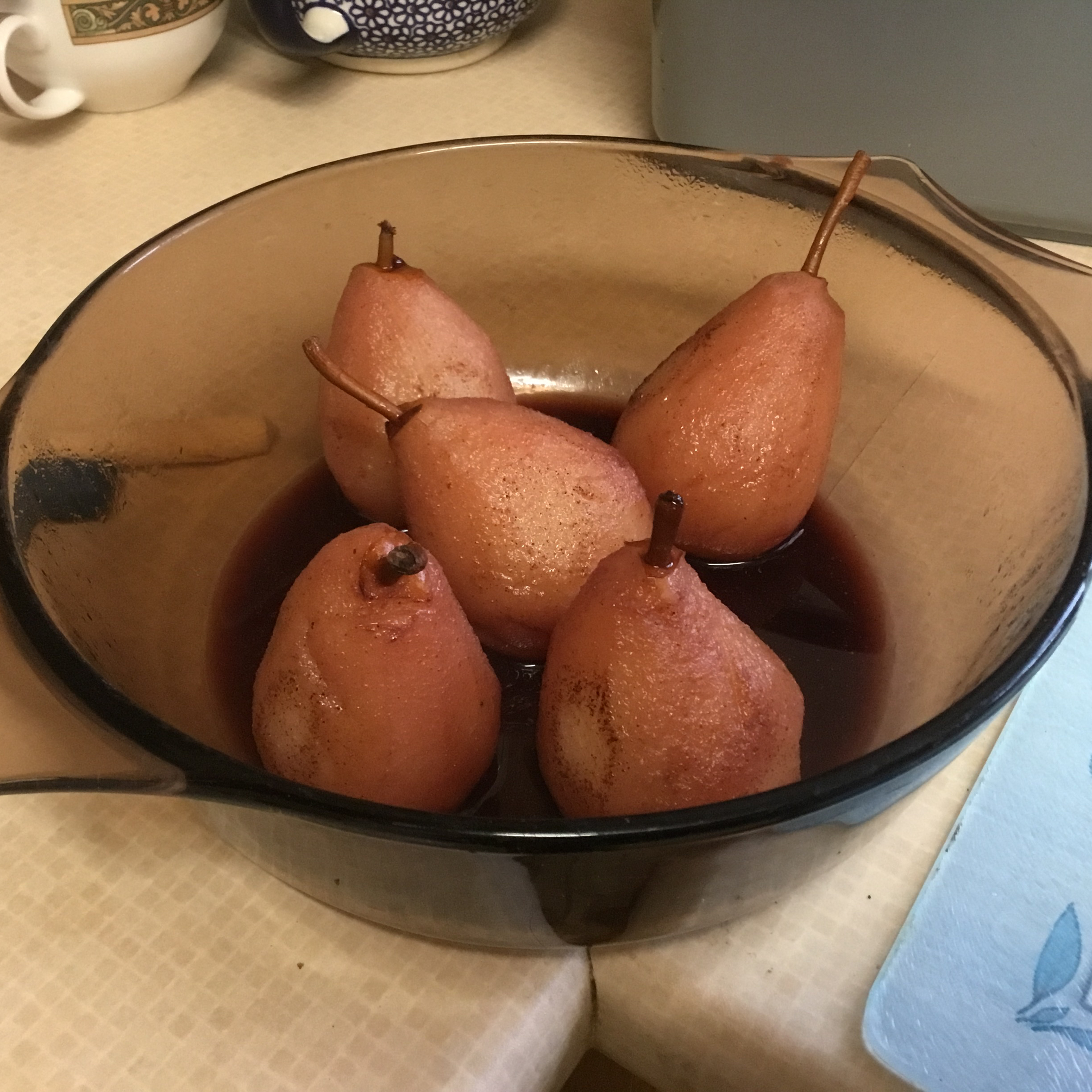 Red Wine Poached Pears with Chocolate Filling Deborah Mackenzie