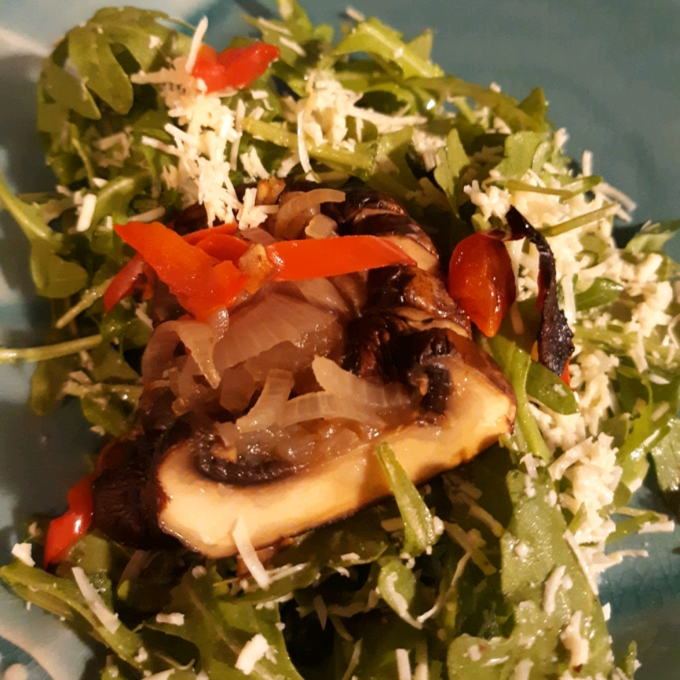 Roasted Portobello, Red Pepper, and Arugula Salad for One Twyla's Treats