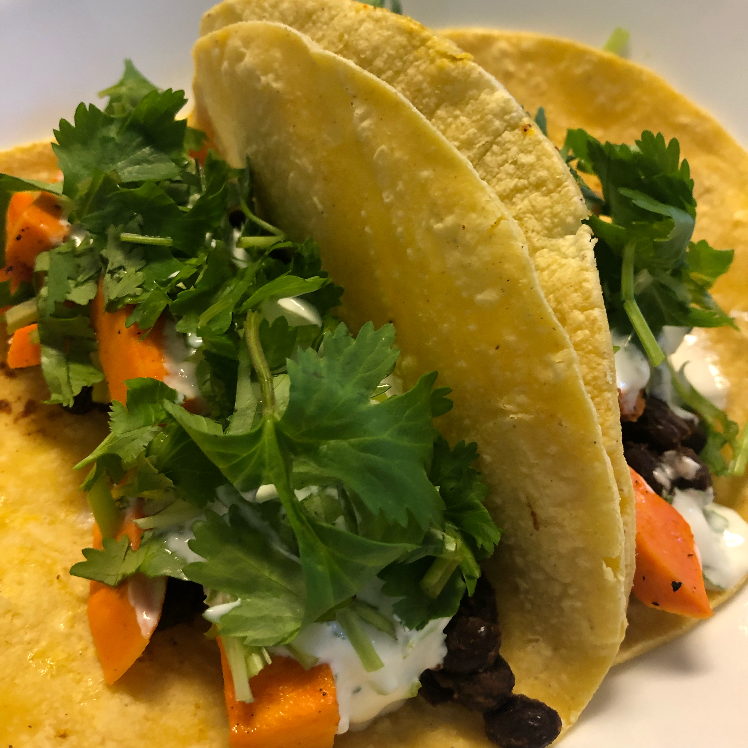 Vegan Cilantro-Lime, Sweet Potato, and Black Bean Tacos sarakyong