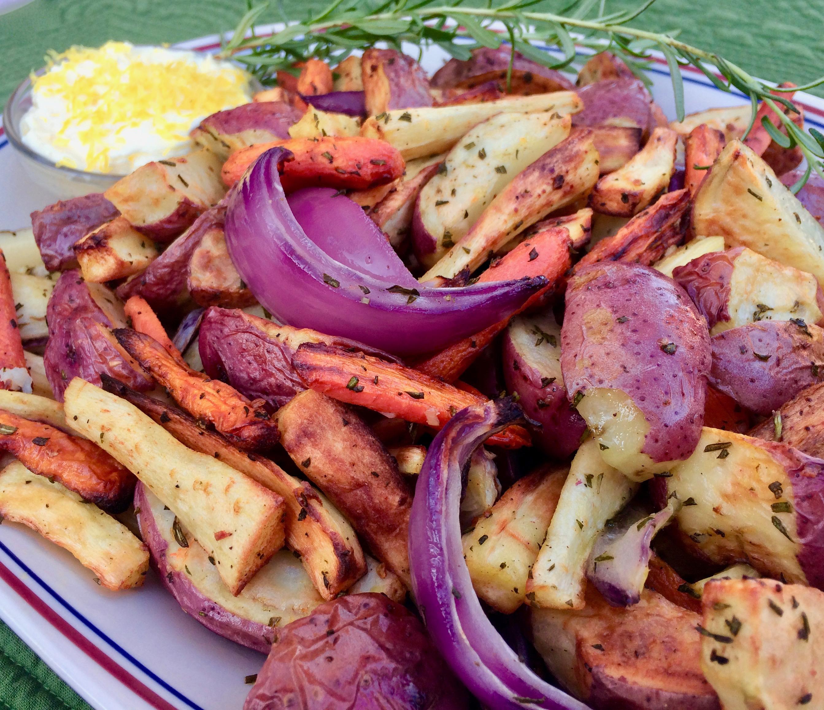 Air Fryer Root Vegetables with Vegan Aioli