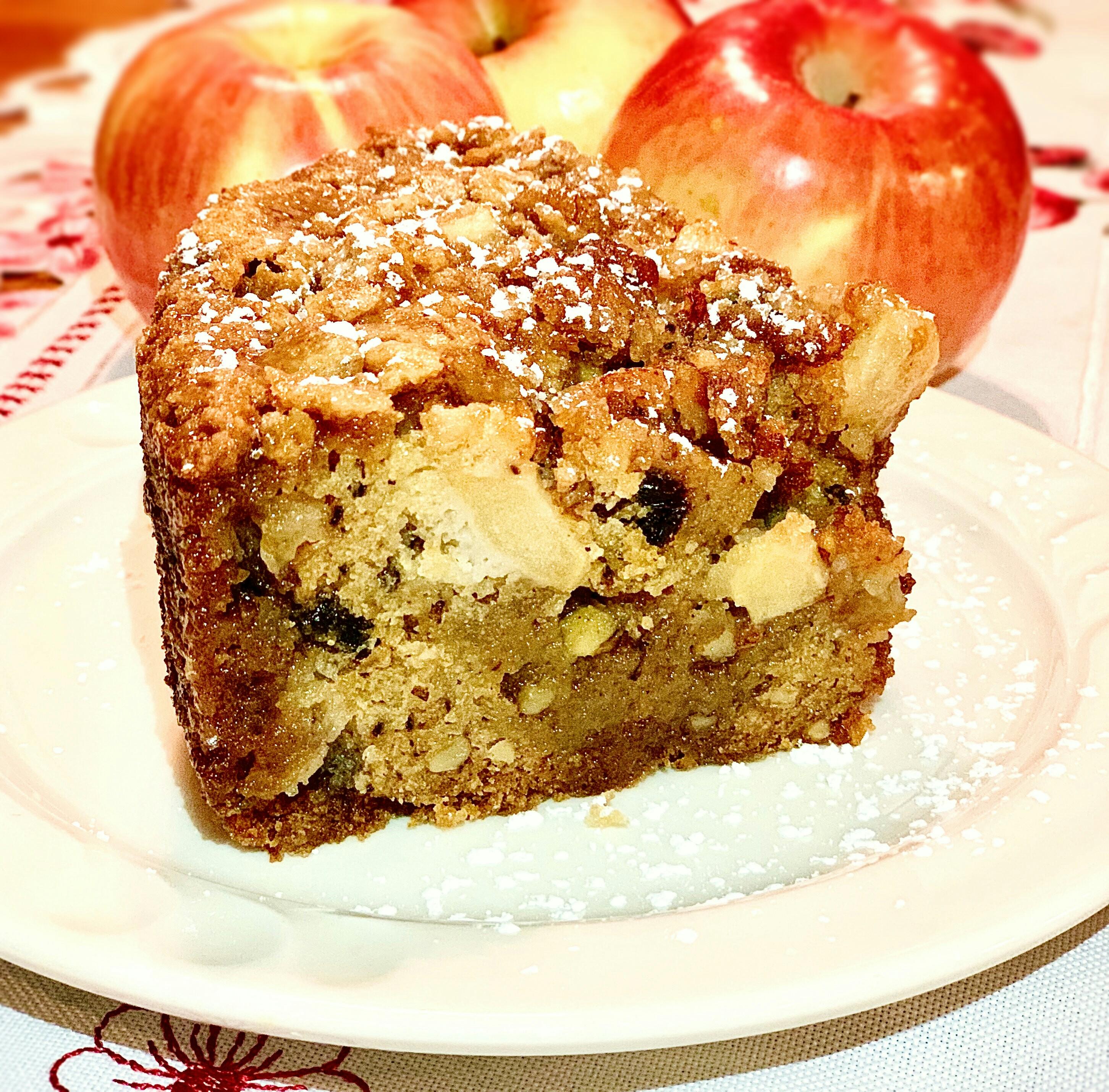 Cranberry-Apple Cake with Salted Caramel Glaze