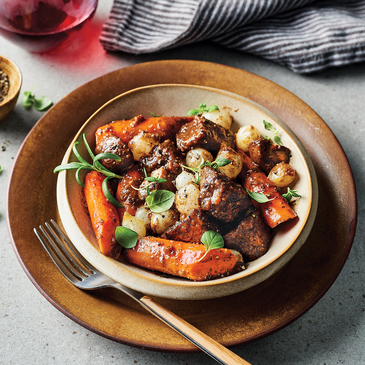 Slow-Cooker Herb & Mushroom Braised Beef Trusted Brands