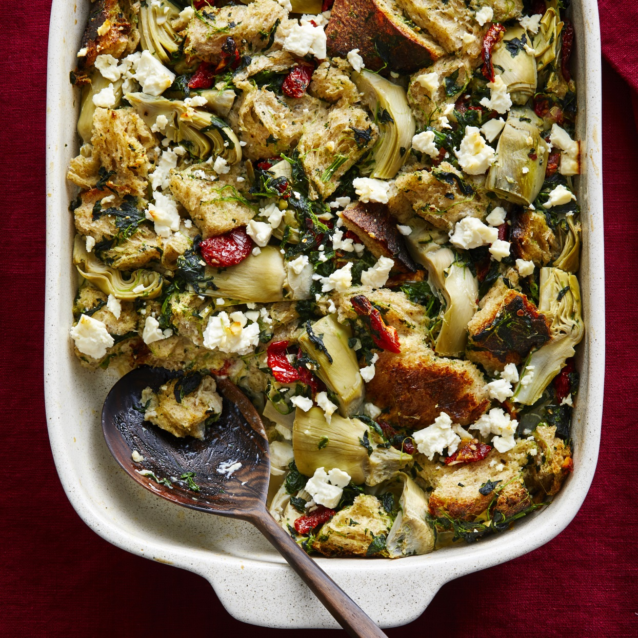 Enjoy this Mediterranean-inspired Christmas-morning casserole while you open presents. Breakfast casseroles are perfect for when you have a crowd to feed, and you can make the prep even quicker by tearing the bread into pieces the night before. Source: EatingWell.com, November 2019