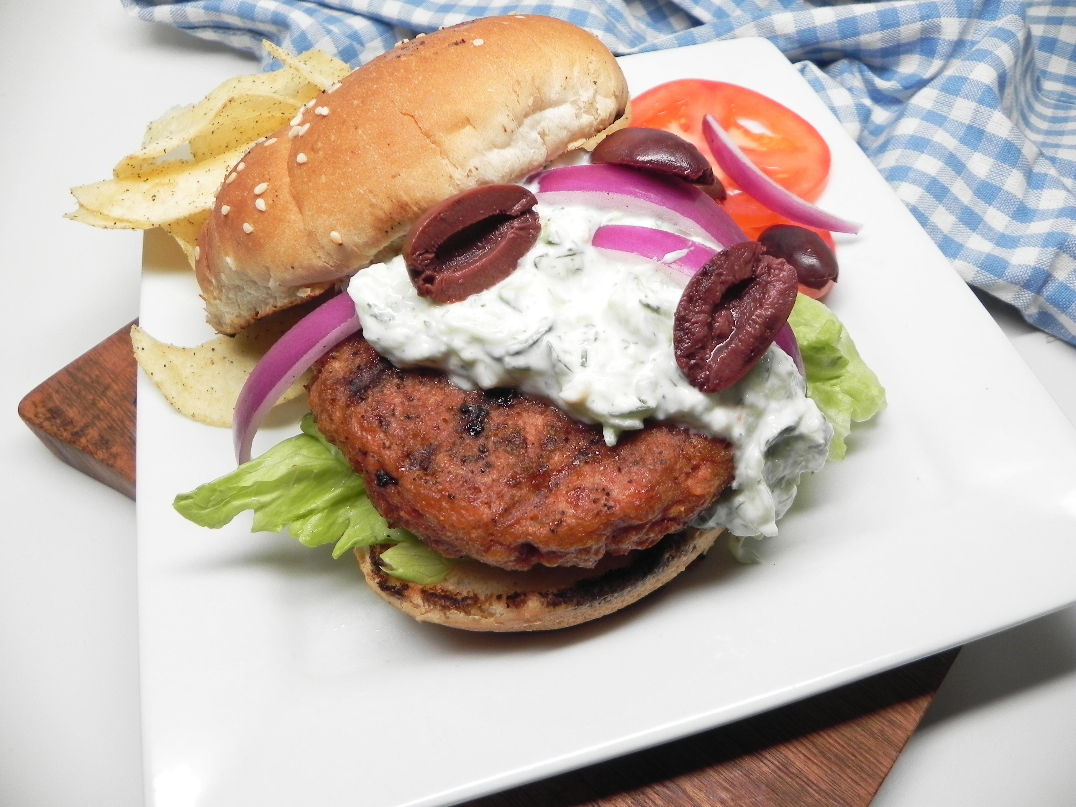 Greek Grilled Beyond Meat® Burgers
