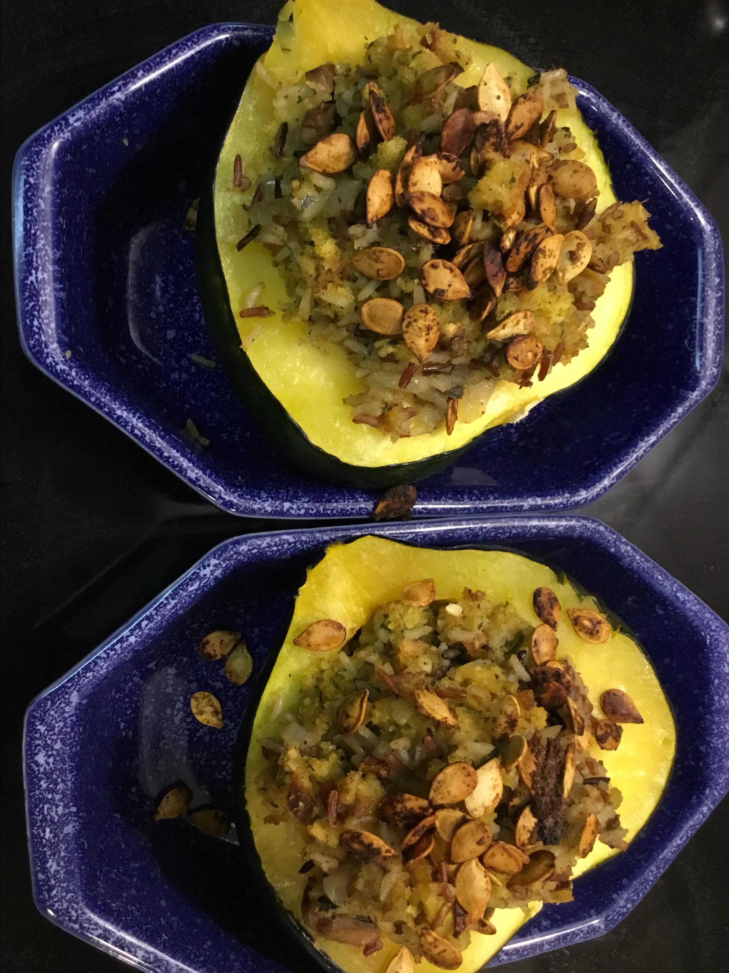 Wild Rice Stuffed Acorn Squash