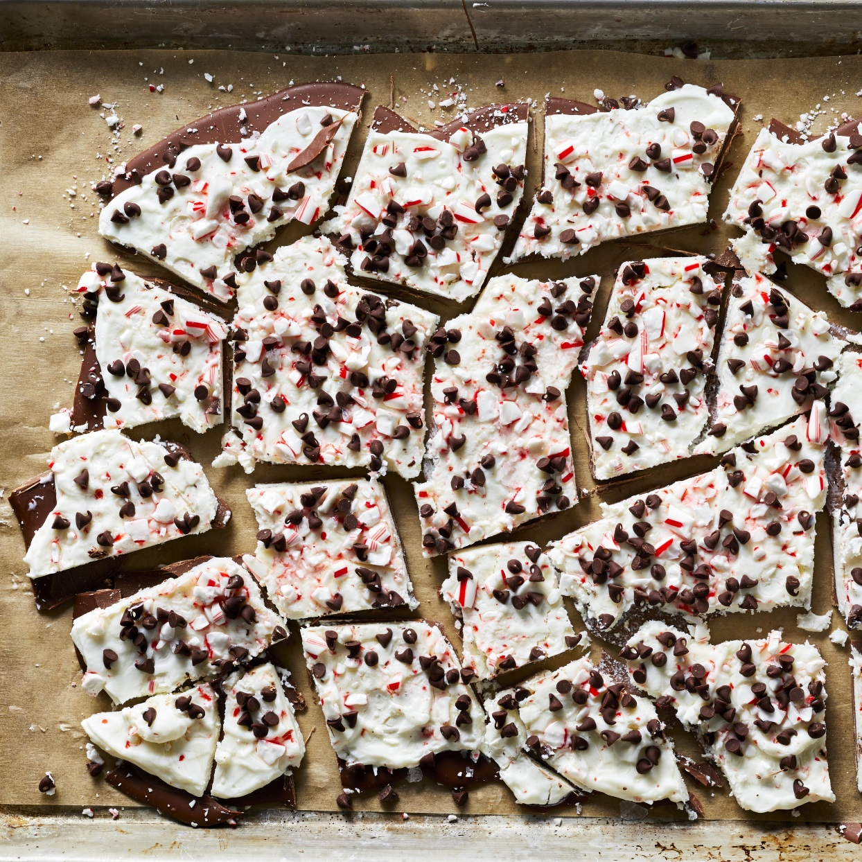 This eye-catching frozen peppermint-chocolate bark was inspired by Williams Sonoma's Original Peppermint Bark—our loose interpretation of the treat is frozen and made with Greek yogurt, chocolate and crushed candy canes. For the creamiest bark, be sure to use full-fat yogurt, as fat-free yogurt can get icy when frozen. Serve this healthy dessert when you want all those festive holiday flavors in a lightened-up—and totally delicious—package. Just don't stuff your Christmas stockings with this bark because it melts quickly.