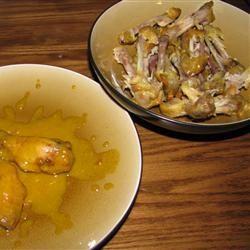 Sweet Hot Mustard Chicken Wings baking for blake