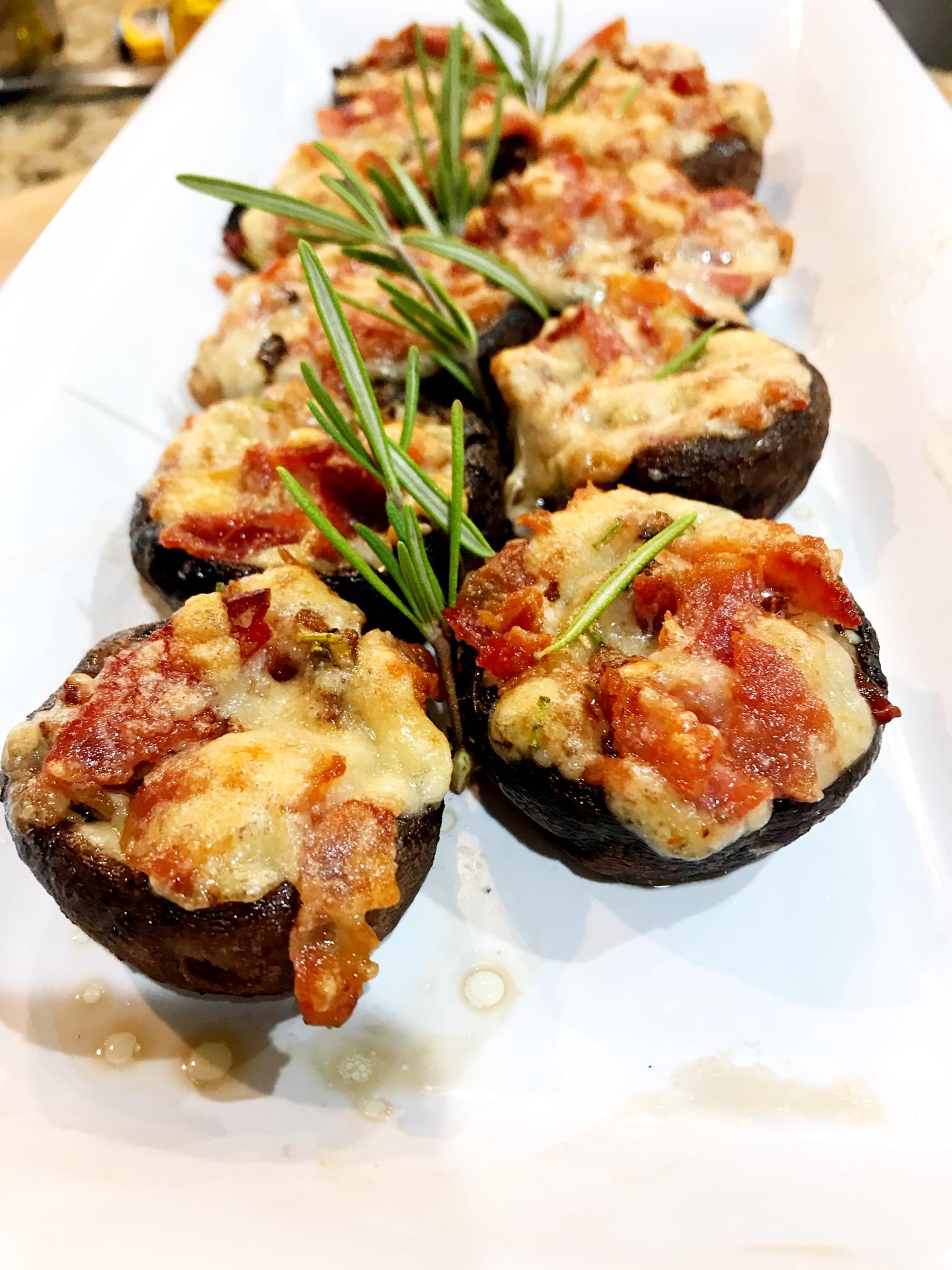Bacon Rosemary Stuffed Mushrooms PNickM