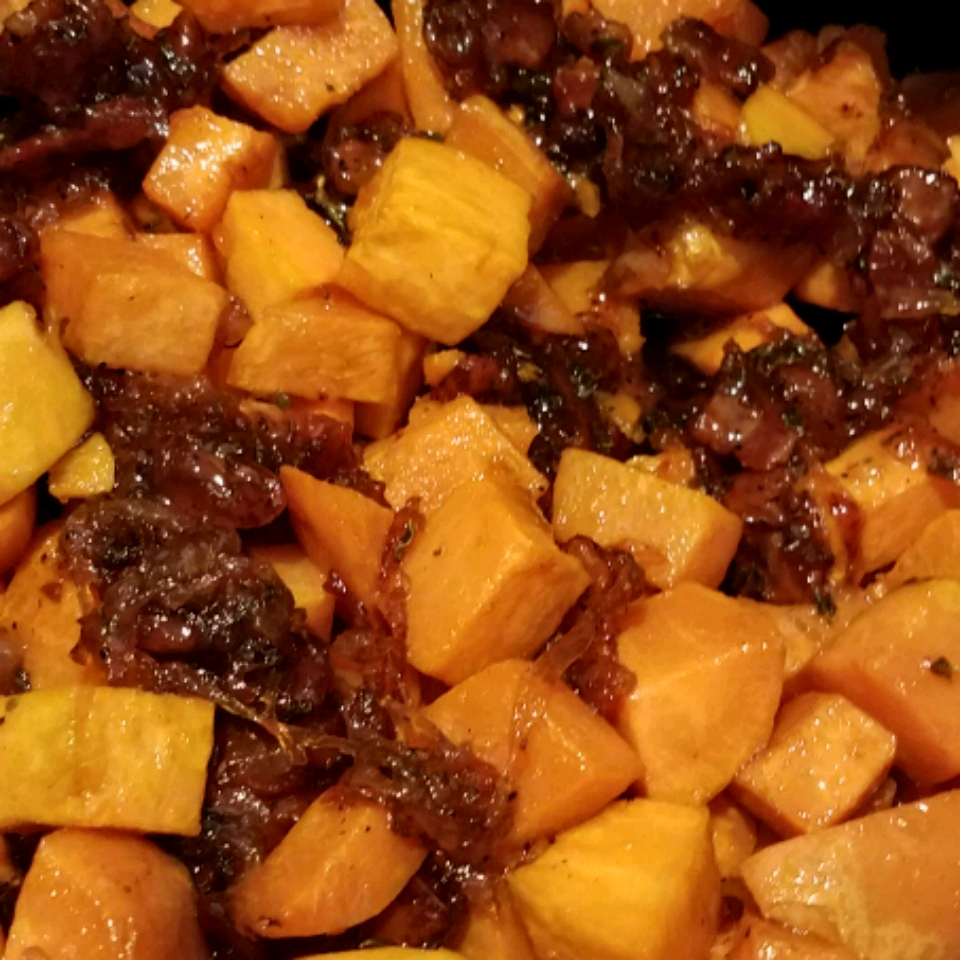 Maple Glazed Sweet Potatoes with Bacon and Caramelized Onions
