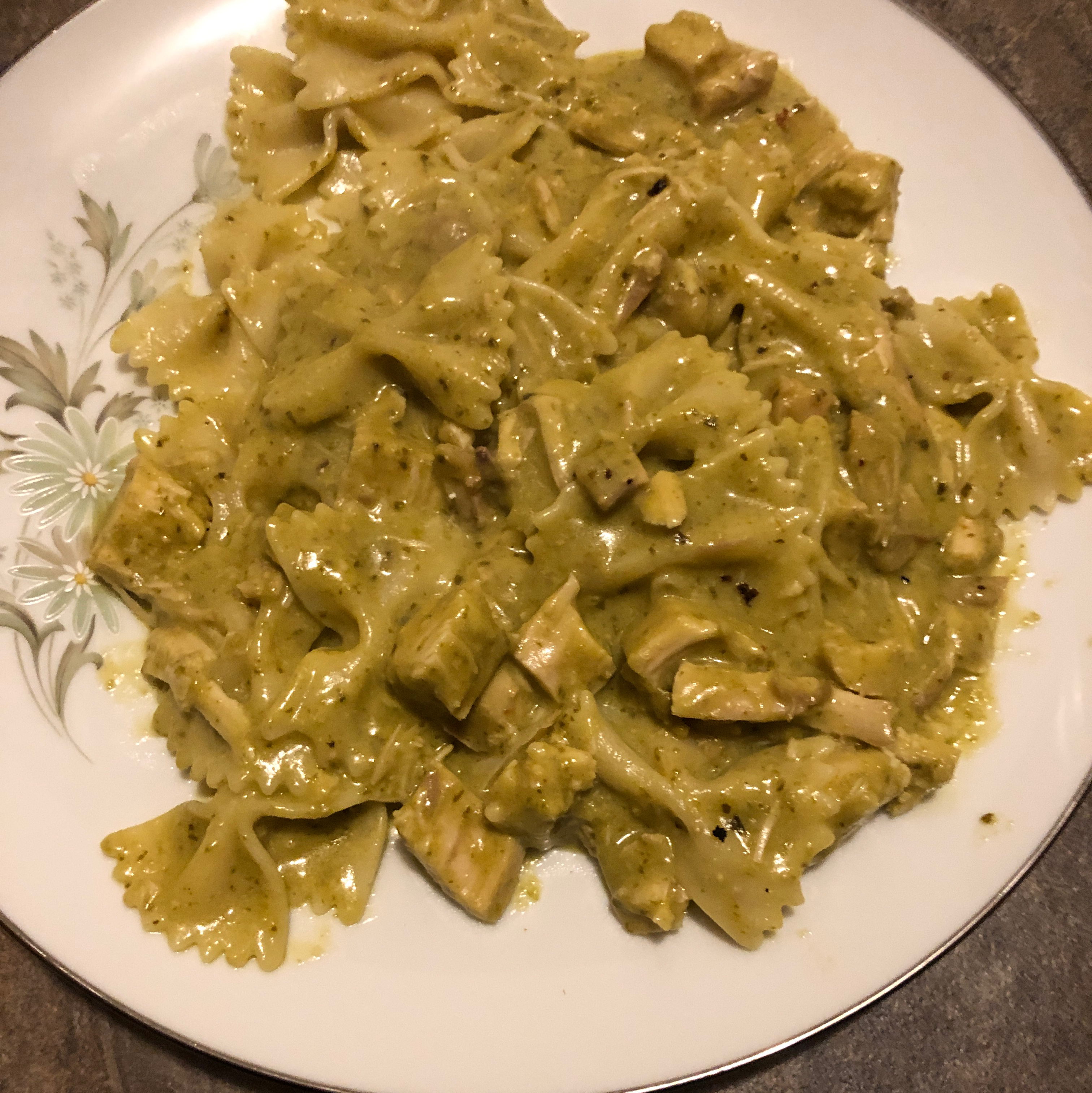 Creamy Pesto Chicken and Bow Ties