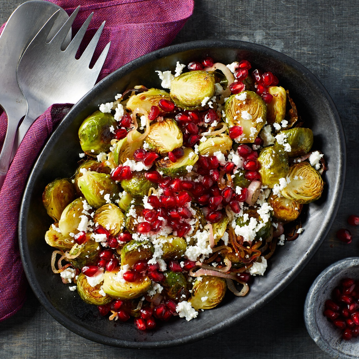 This gorgeous warm salad with nutty roasted Brussels sprouts, sweet-tart pomegranate seeds and creamy goat cheese is perfect for any winter meal--from a weeknight dinner to Christmas dinner or any other holiday celebration. The recipe is easily doubled if you are entertaining a crowd: just be sure to spread the sprouts out (use 2 pans if necessary) so they roast instead of steaming. Source: EatingWell.com, December 2019