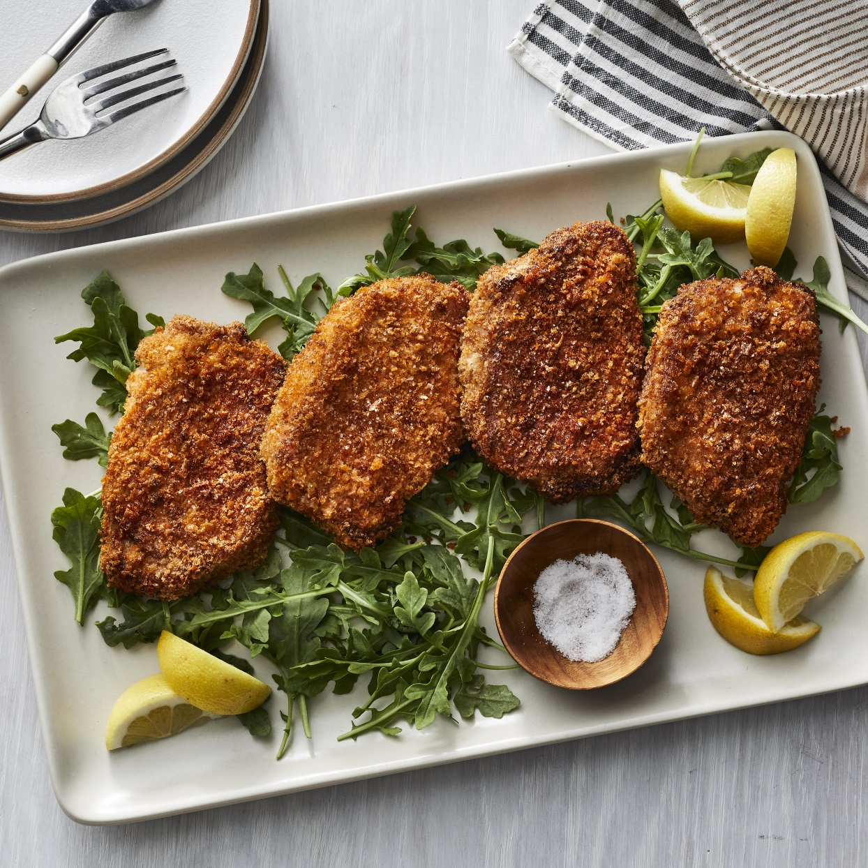 These crispy breaded air-fryer pork chops don't require a lot of oil to create a deep-fried crispy crust. Serve them with your favorite dipping sauce or alongside roasted veggies. Want to double the recipe? Depending on the size of your air fryer, you may have to cook the pork chops in batches, but that's easy to do. Source: EatingWell.com, December 2019