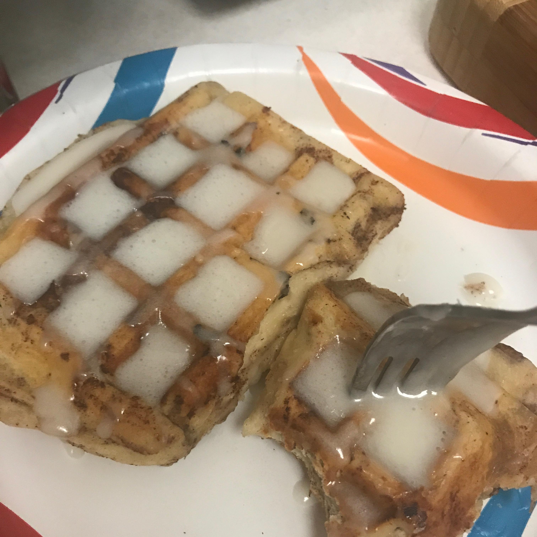 Cinnamon Roll Waffles with Cream Cheese Syrup Ashley Lubin
