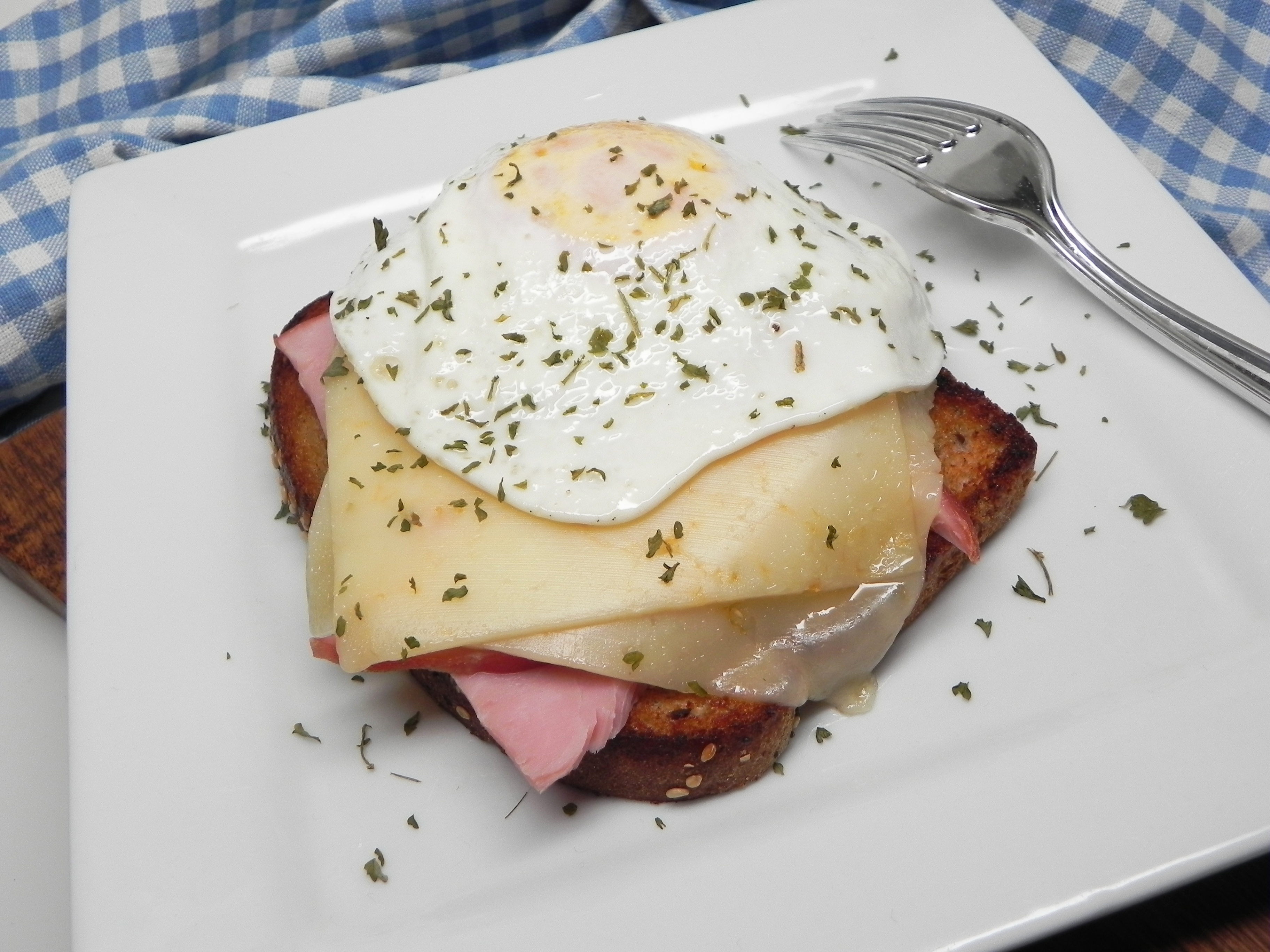 Strammer Max (German Open-Face Sandwich with Ham, Cheese, and Fried Egg)