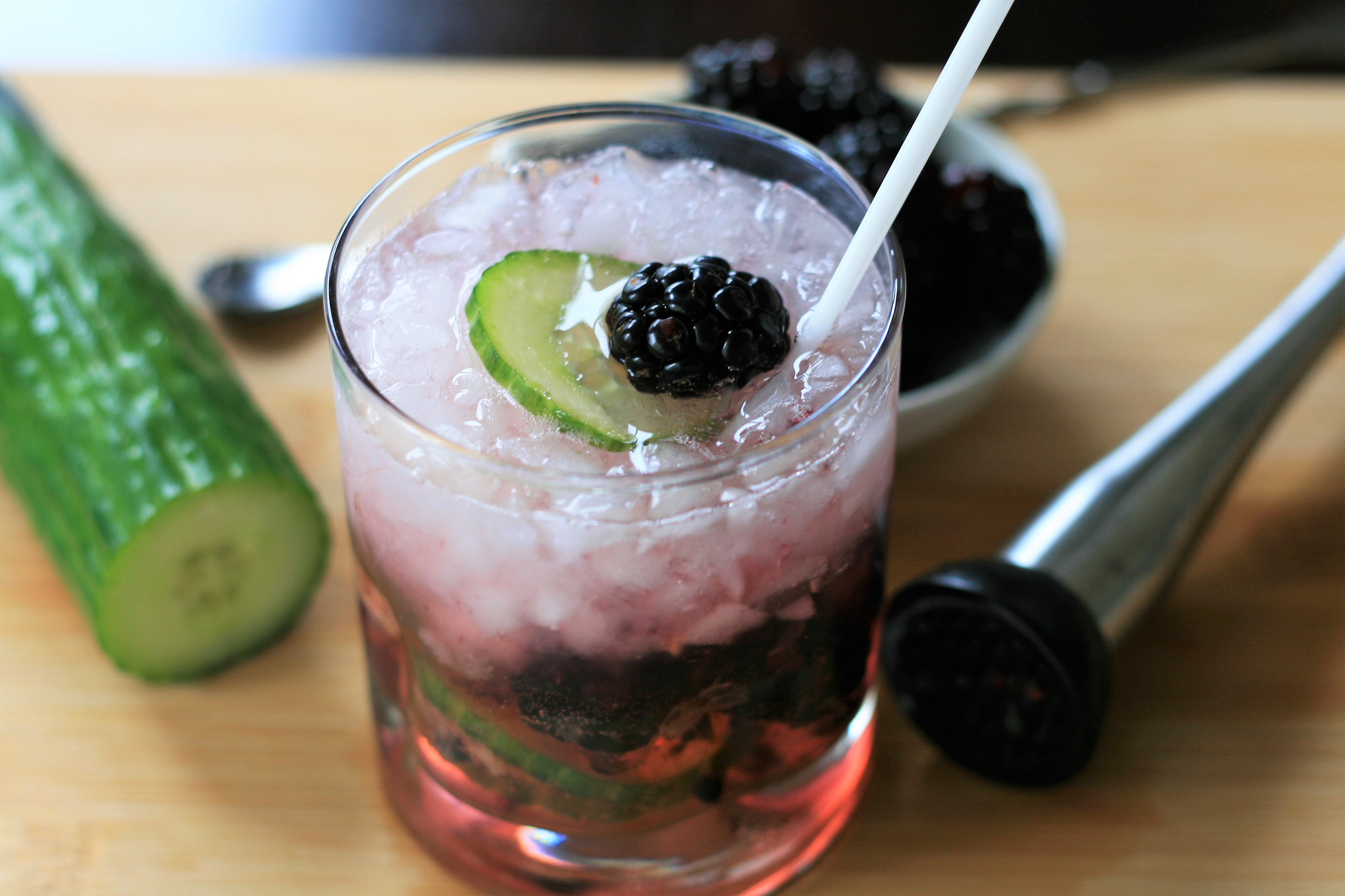 "Fresh blackberries and slices of cucumber add fun and flavor to a classic vodka tonic. ""This vodka and cucumber cocktail is a refreshing and colorful spin on the classic cocktail,"" says France C."