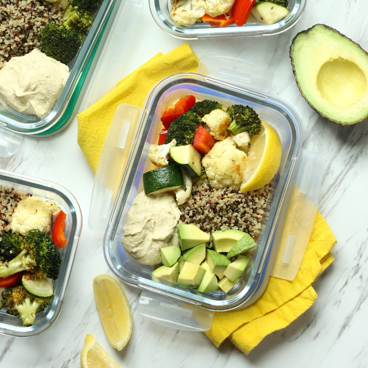 Brimming with colorful roasted vegetables, these plant-based meal-prep lunch bowls are high in fiber to keep you full through the afternoon. The easy roasted veggies are based on a popular recipe from our sister magazine. Feel free to use your favorite store-bought hummus to cut down on prep time, or make a batch of your own. You can also sub in an 8-ounce microwaveable quinoa pouch to minimize cooking.