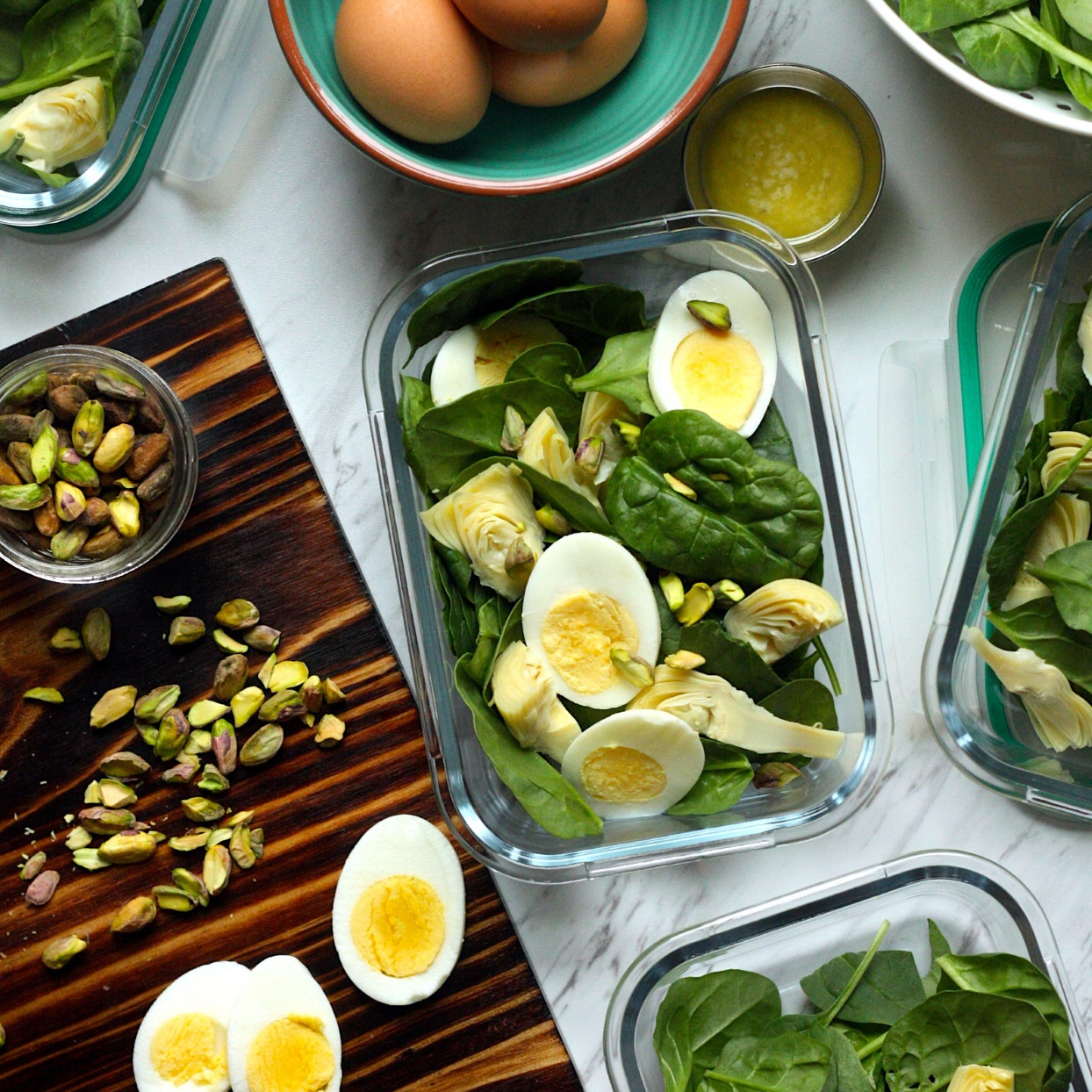 Inspired by the classic warm party dip, this simple salad can be served up right away or divided into small lidded containers for a week of delicious lunches. To keep the hard-boiled eggs tasting fresh, we suggest adding them to your salad just before serving or in the morning before packing your lunch to go. Source: EatingWell.com, December 2019