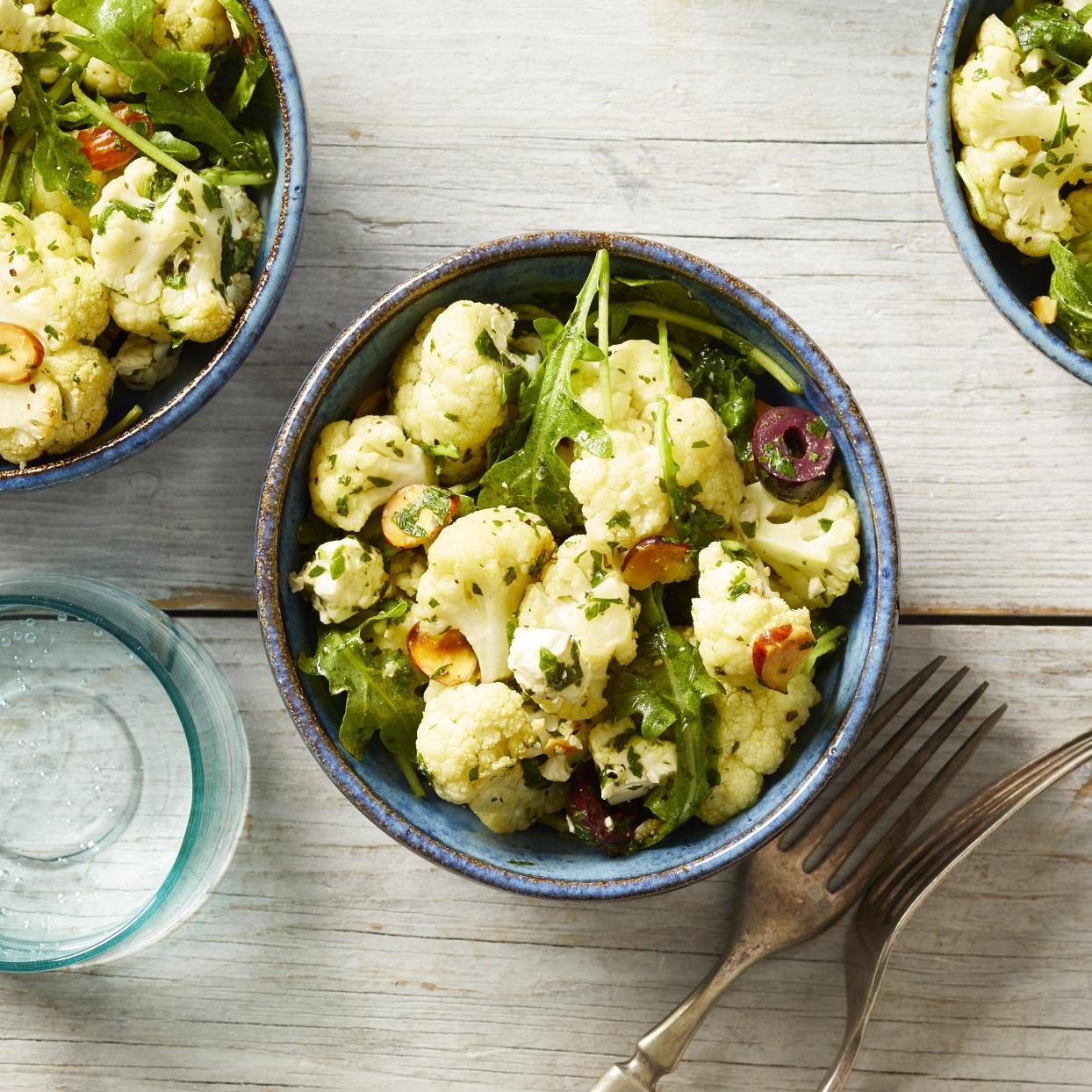Roasted Cauliflower Salad with Almonds, Olives & Feta Carolyn Casner
